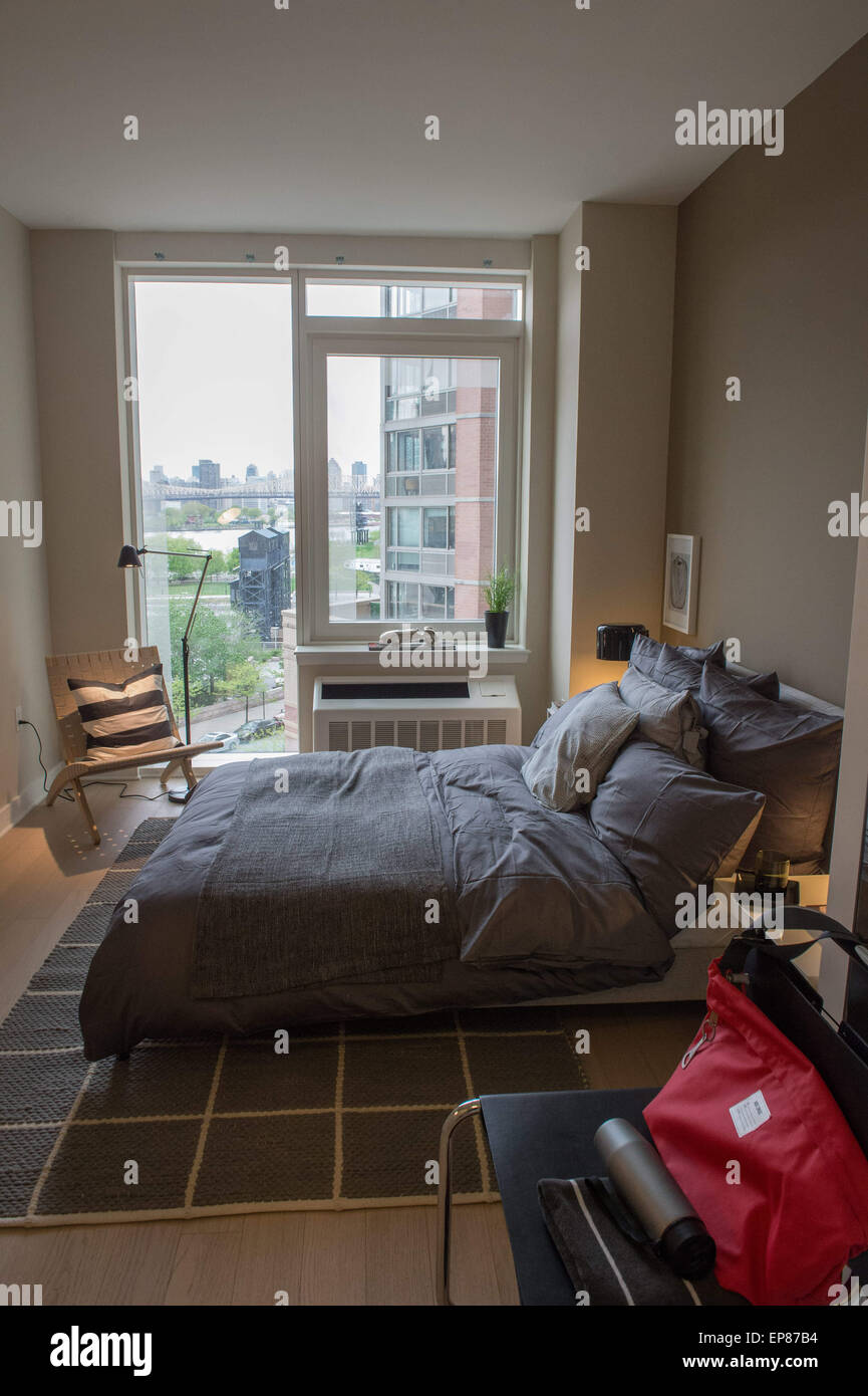 may 6, 2015 - queens, new york, u.s. - bedroom of an apartment in