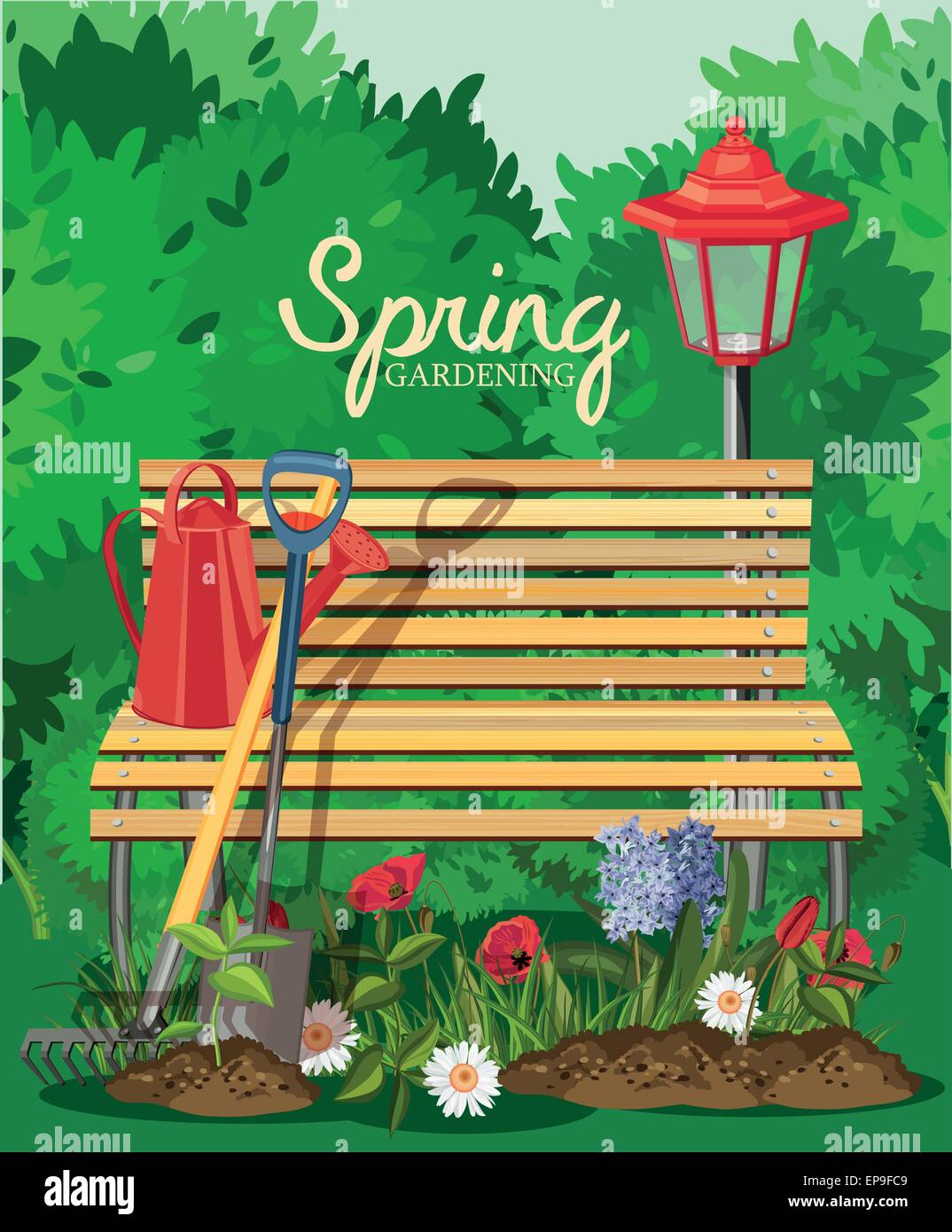 Poster design tools - Poster Design Tools And Plants Vector Illustration