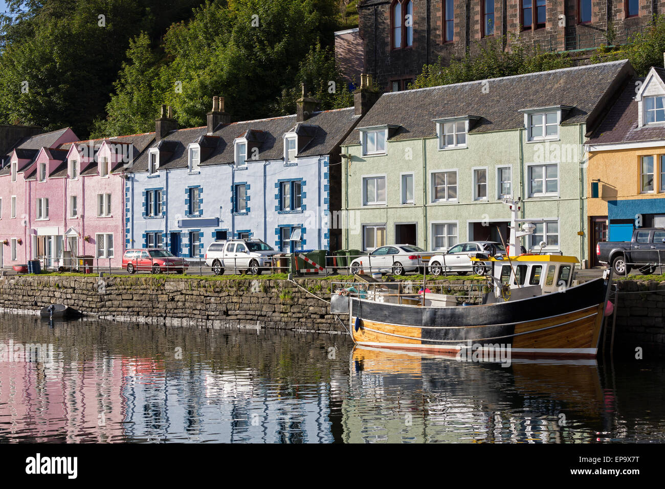 View Of Portree Harbour On Isle Of Skye Scotland Stock