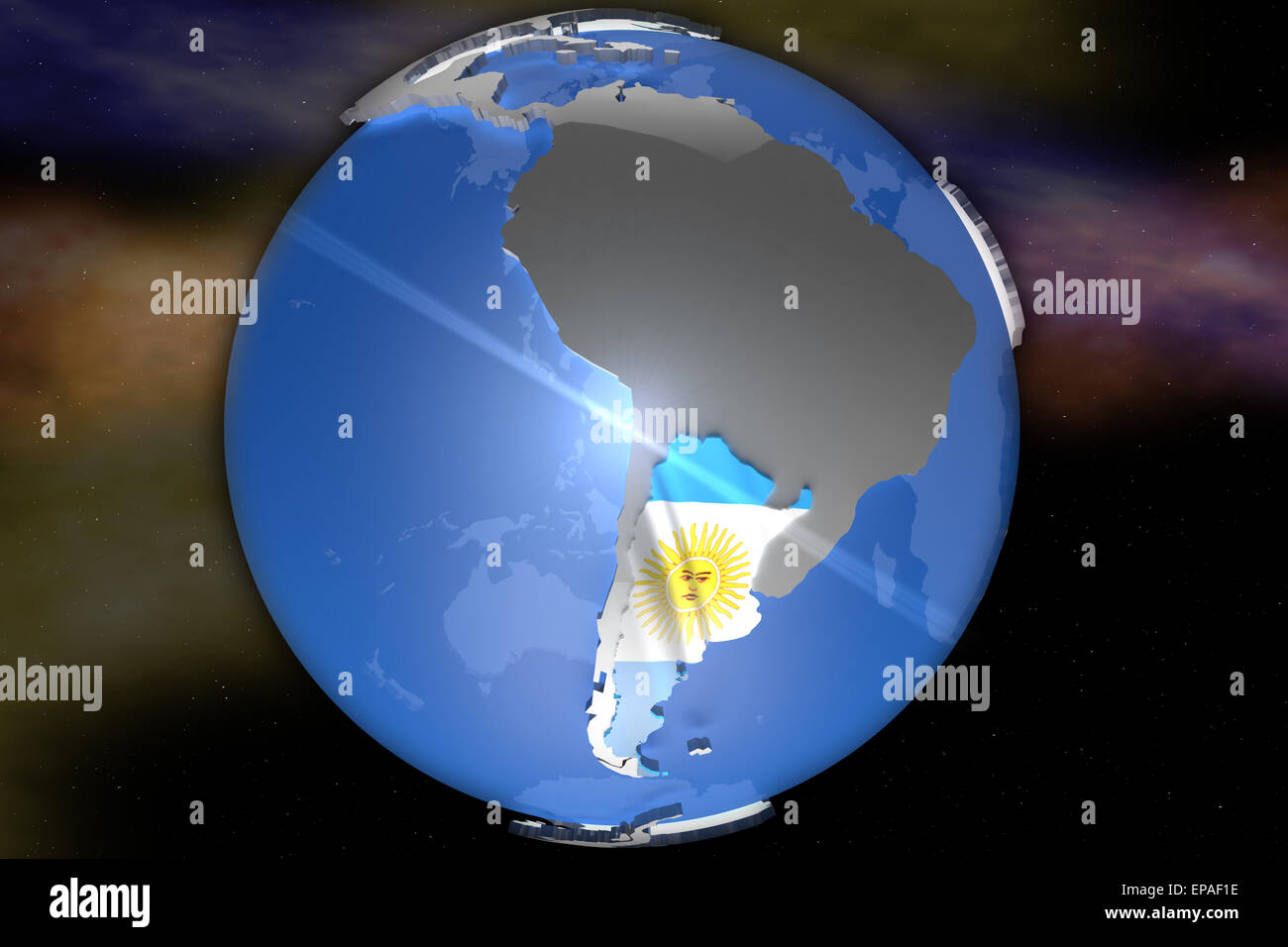 Country Of Argentina On D Map Designed With The Country Flag - Argentina 3d map