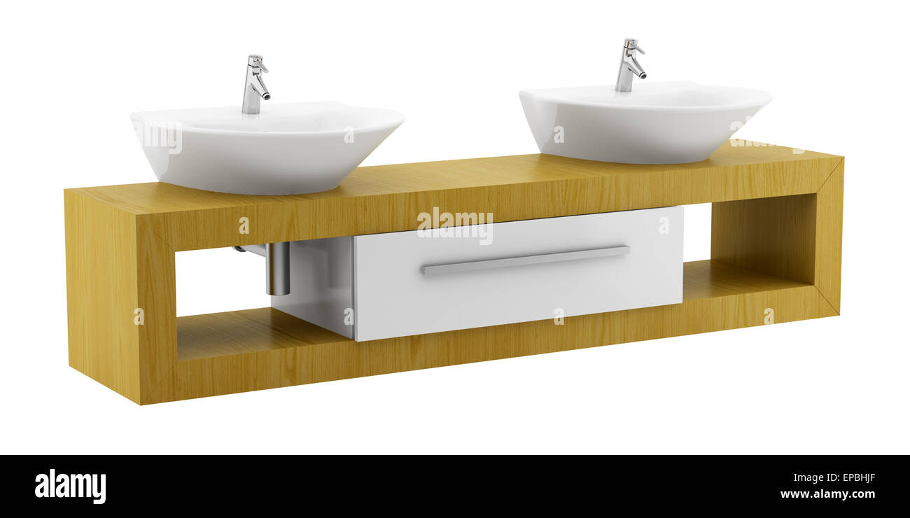 Modern double bathroom sink - Stock Photo Modern Double Bathroom Sink Isolated On White