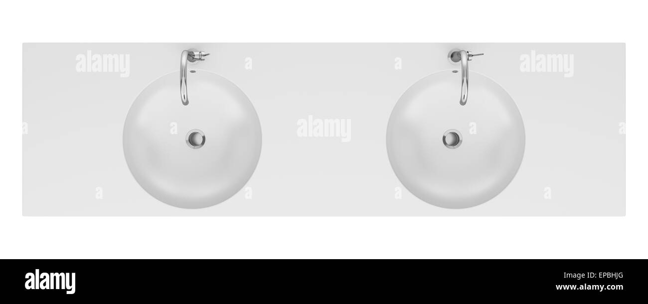 Bathroom sink top view - Stock Photo Top View Of Double Ceramic Bathroom Sink Isolated