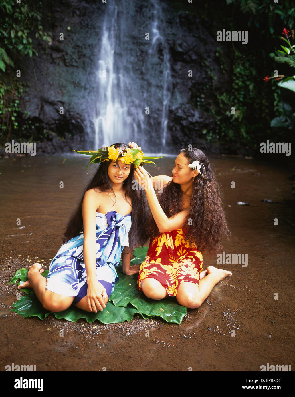Tahitian women bathing by a waterfall tahiti stock photo for Bathing images