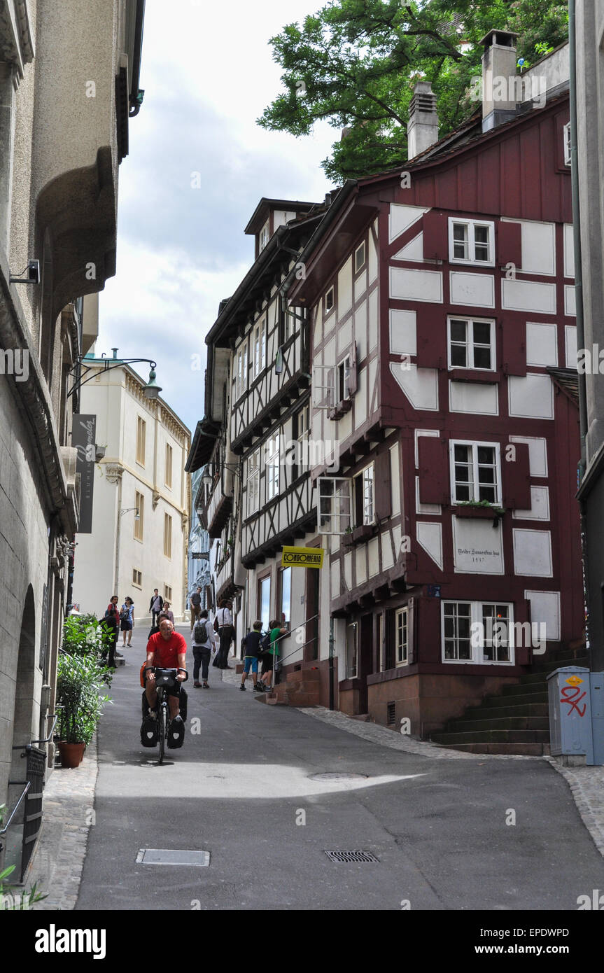 Basel Side Street With Traditional Swiss Architecture Switzerland