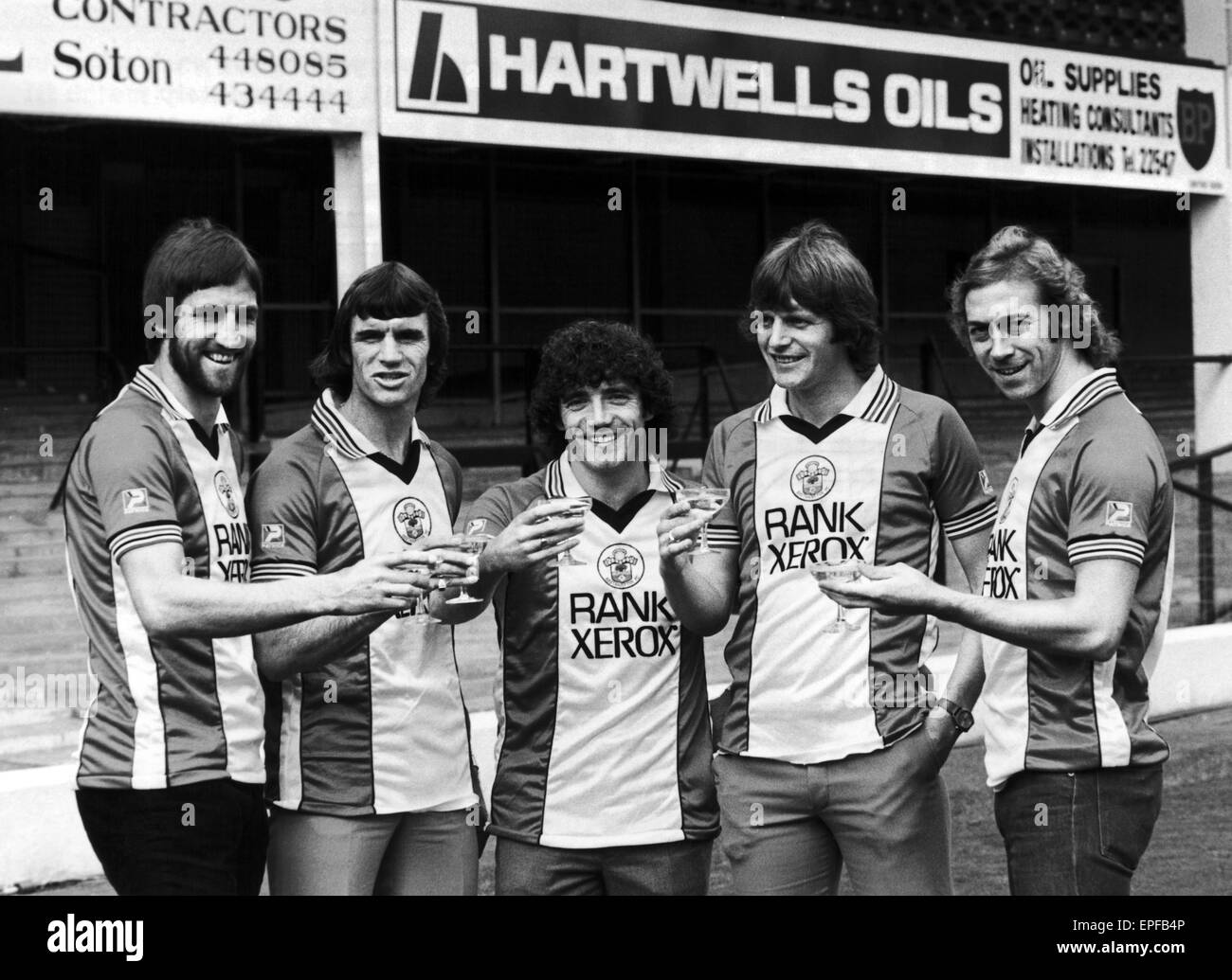 Southampton Fc Photocall To Announce New Sponsorship With Rank Xerox, 22nd  December 1980 From Left, Chris Nicholl, Dave Watson, Kevin Keegan, Mick  Channon