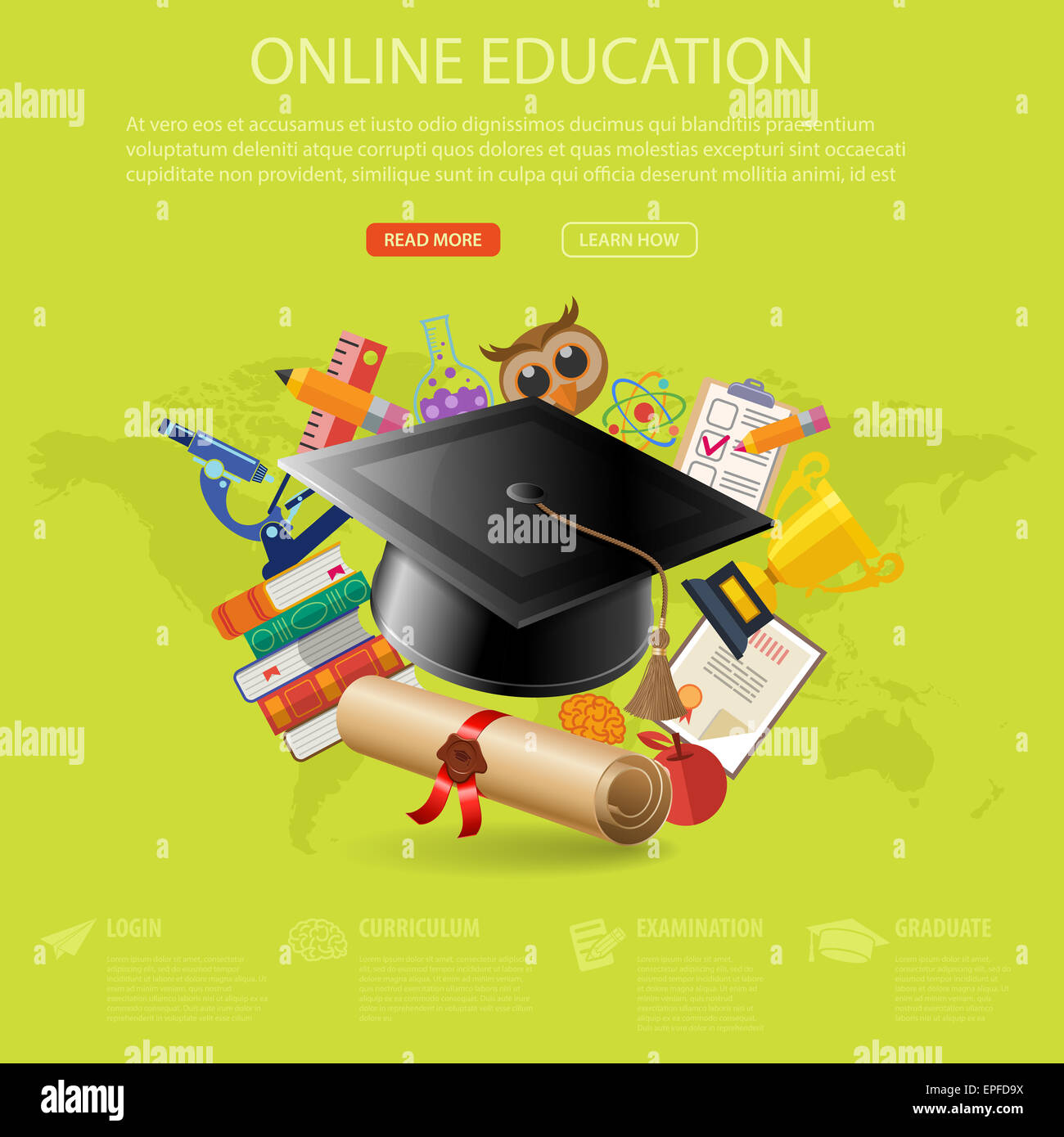 E learning poster designs - Online Education And E Learning Concept Flat Icon Set With Mortarboard Books Microscope For Flyer Poster Web Site Illustr