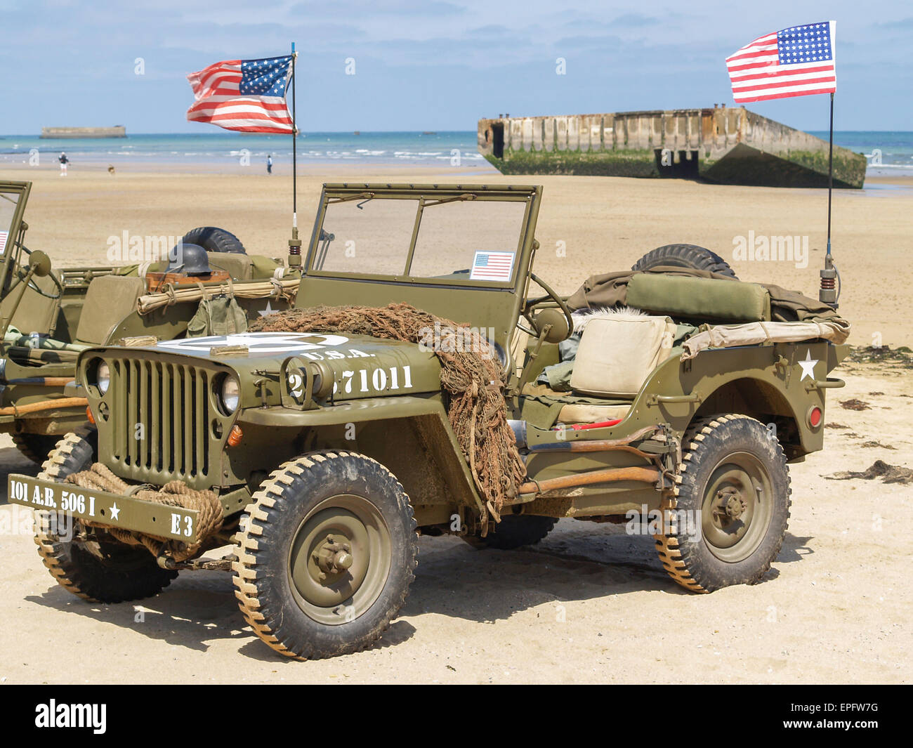 Vintage WW2 vehicles on allied beaches D Day Anniversary ...