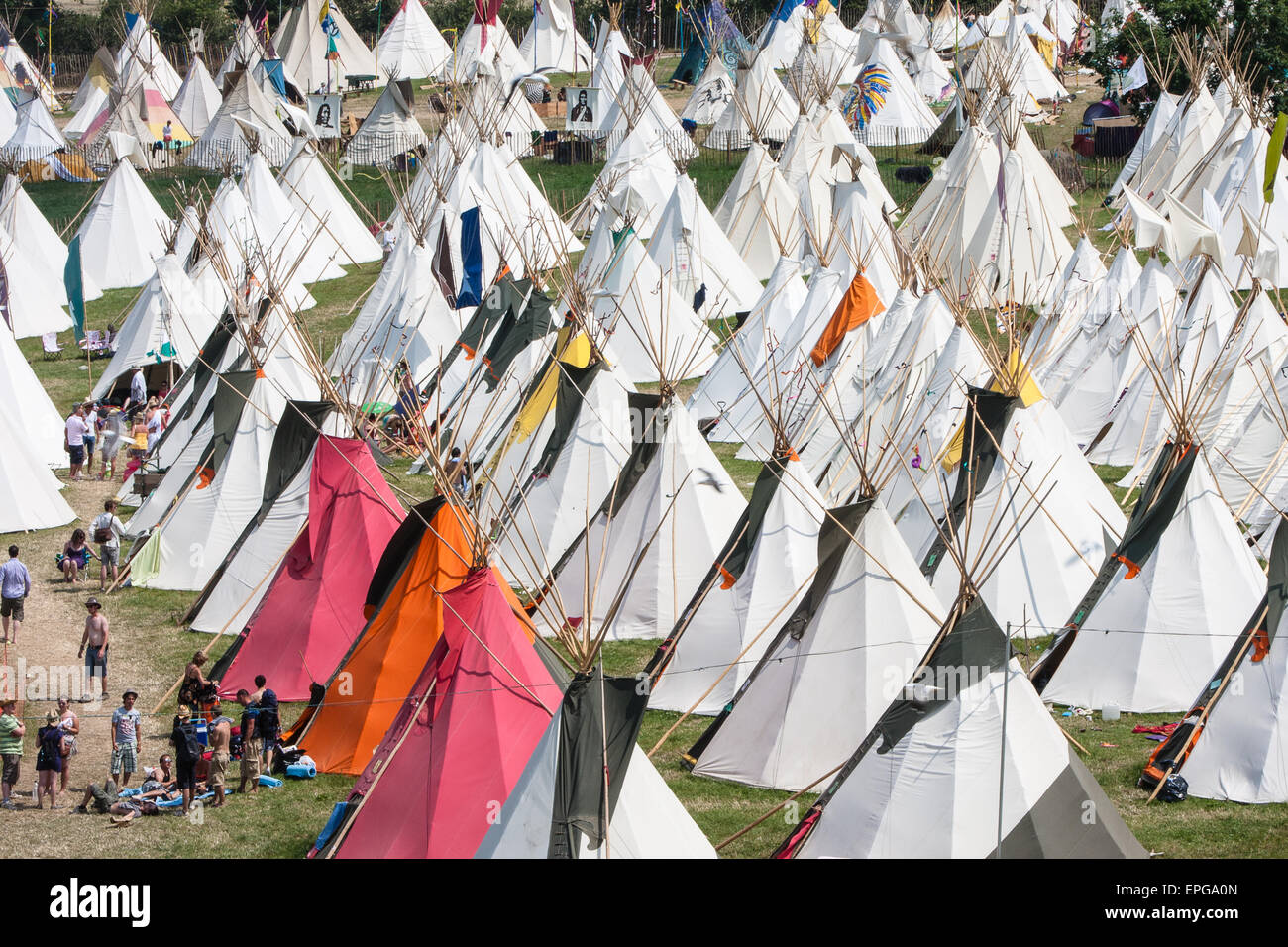 Tepee/ tipiwigwam tents available to hire at luxury tent teepee village/ Tipi Field an exclusive area at Glastonbury Festival/  Glasto & Glamping.Tepee/ tipiwigwam tents available to hire at luxury ...