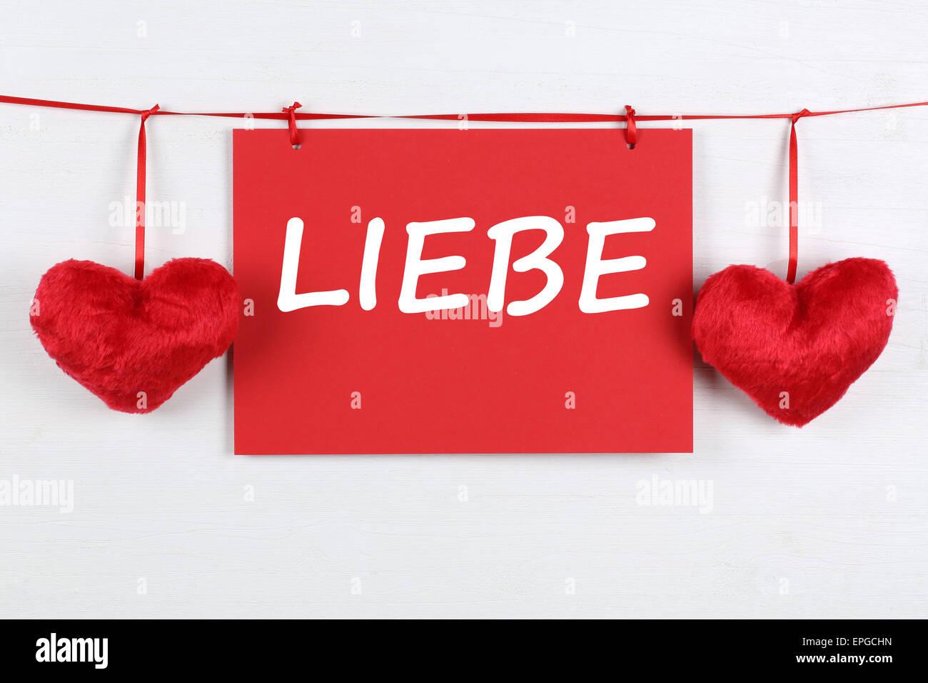 Karte Mit Wort Liebe Zum Valentinstag Oder Muttertag Mit Zwei Herzen