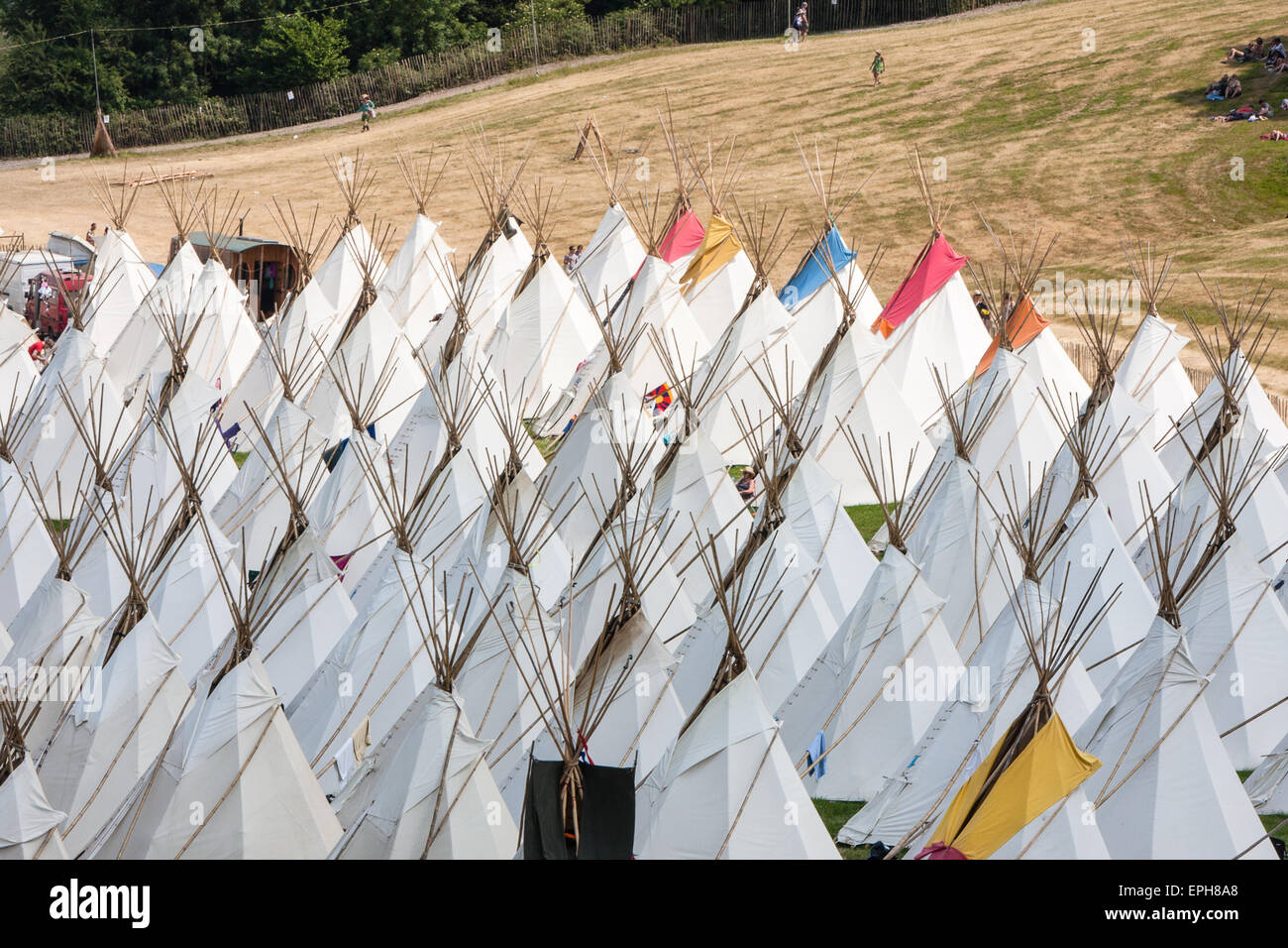 Tepee/ tipiwigwam tents available to hire at luxury tent teepee village/Tipi Field an exclusive area at Glastonbury Festival/  Glasto & Glamping.Tepee/ tipiwigwam tents available to hire at luxury ...