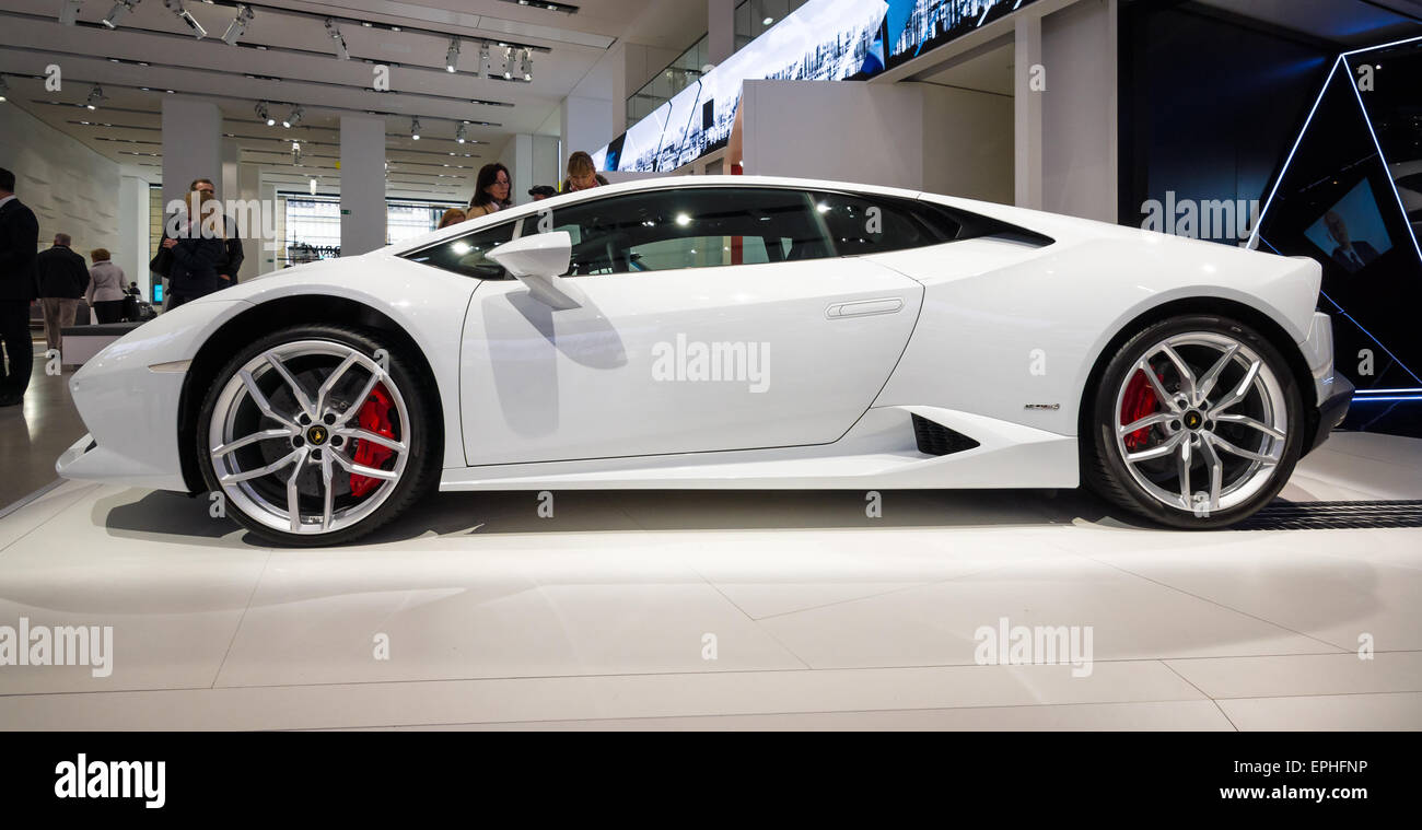 berlin may 02 2015 showroom sports car lamborghini huracan lr 610 4