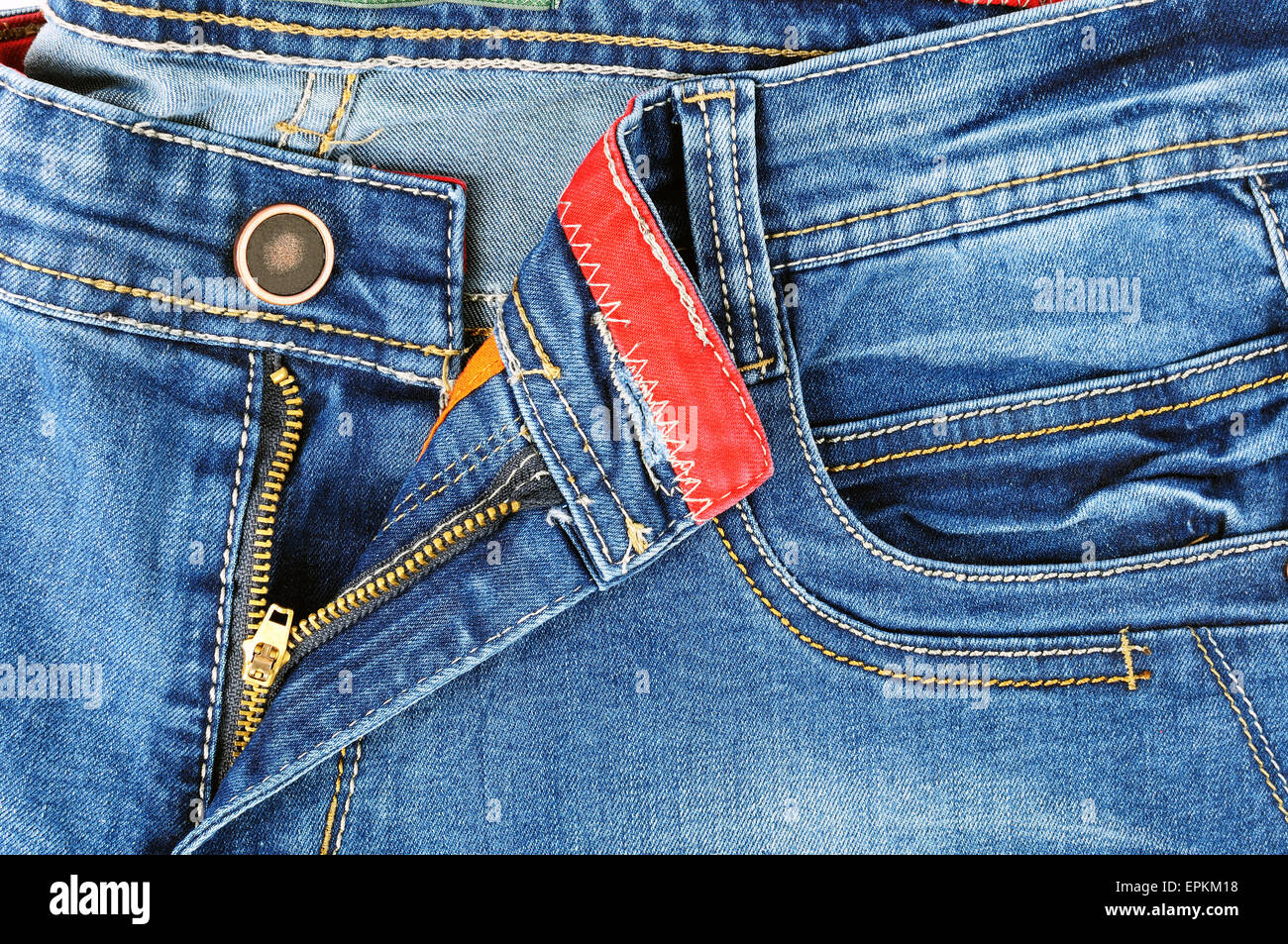 Zipper Detail And The Front Pocket Of Pants In Jeans For