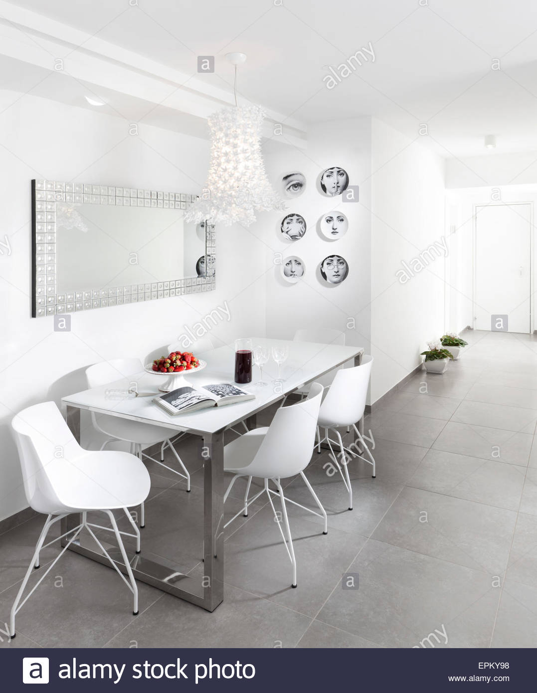 Table And Chairs In White Room Modern Apartment Givat Shmuel Israel