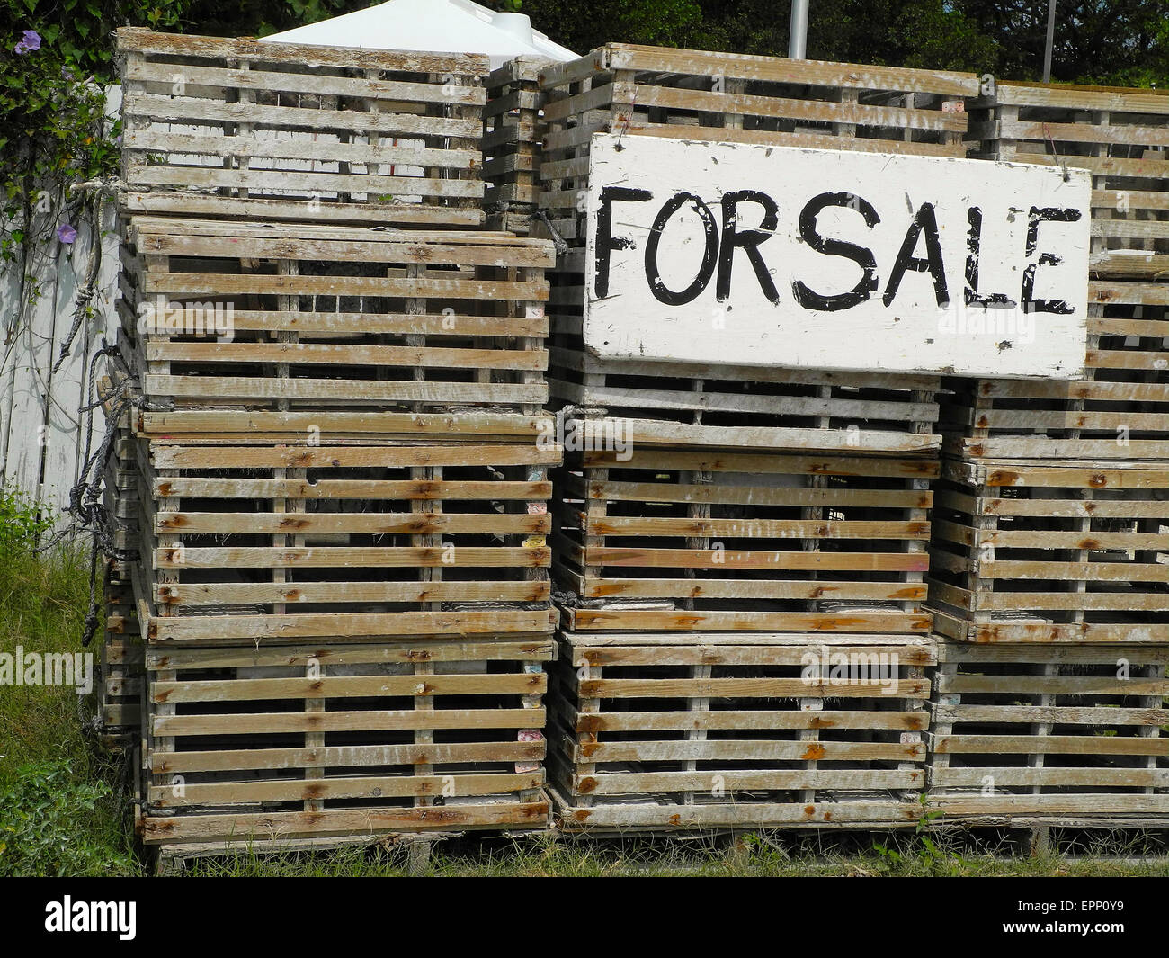 Traps For Sale The old lobster traps are for sale and buyers lately Stock Photo, Royalty Free ...