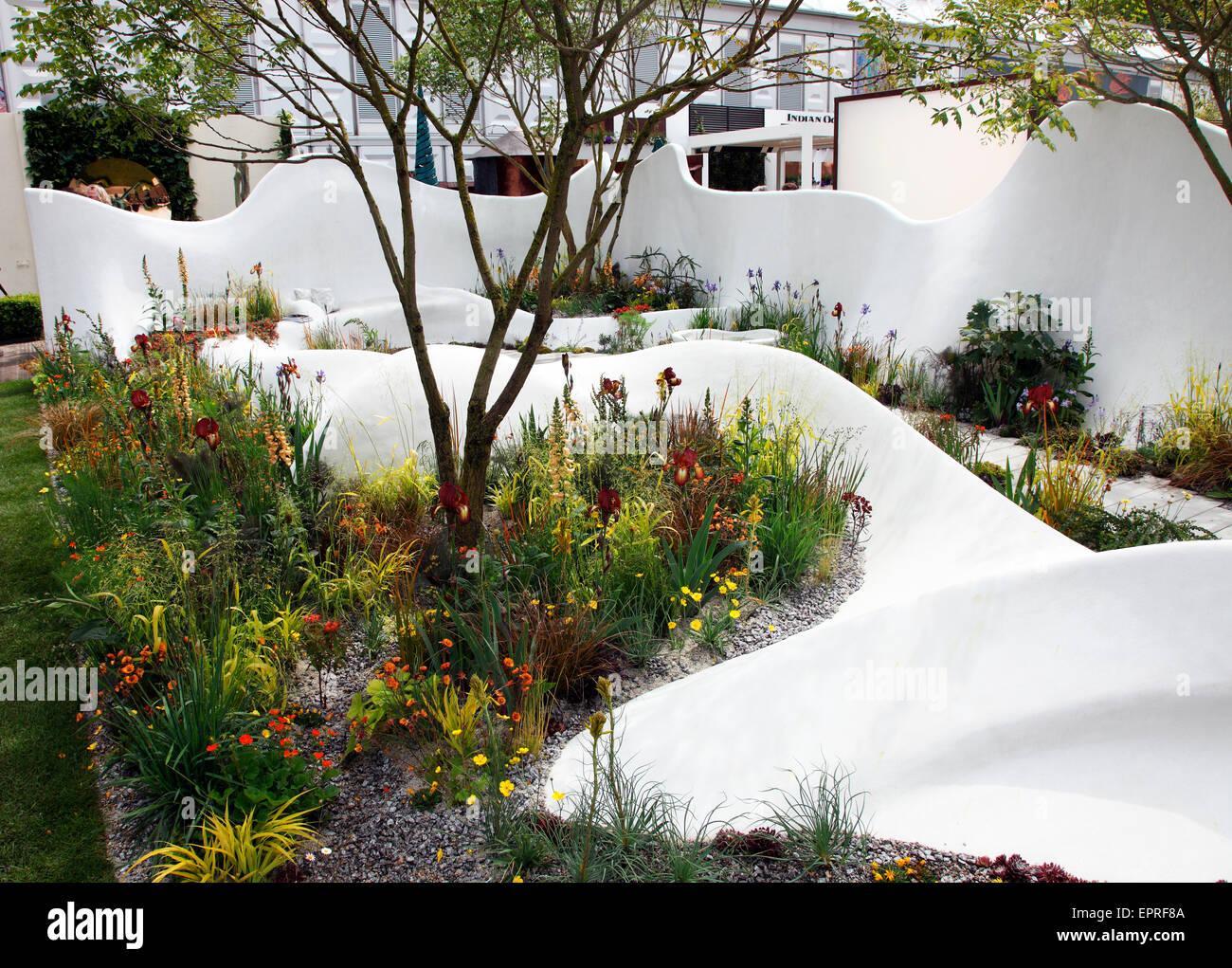 Good Pure Land Foundation Garden, Fresh Garden At RHS Chelsea Flower Show 2015    Stock Image