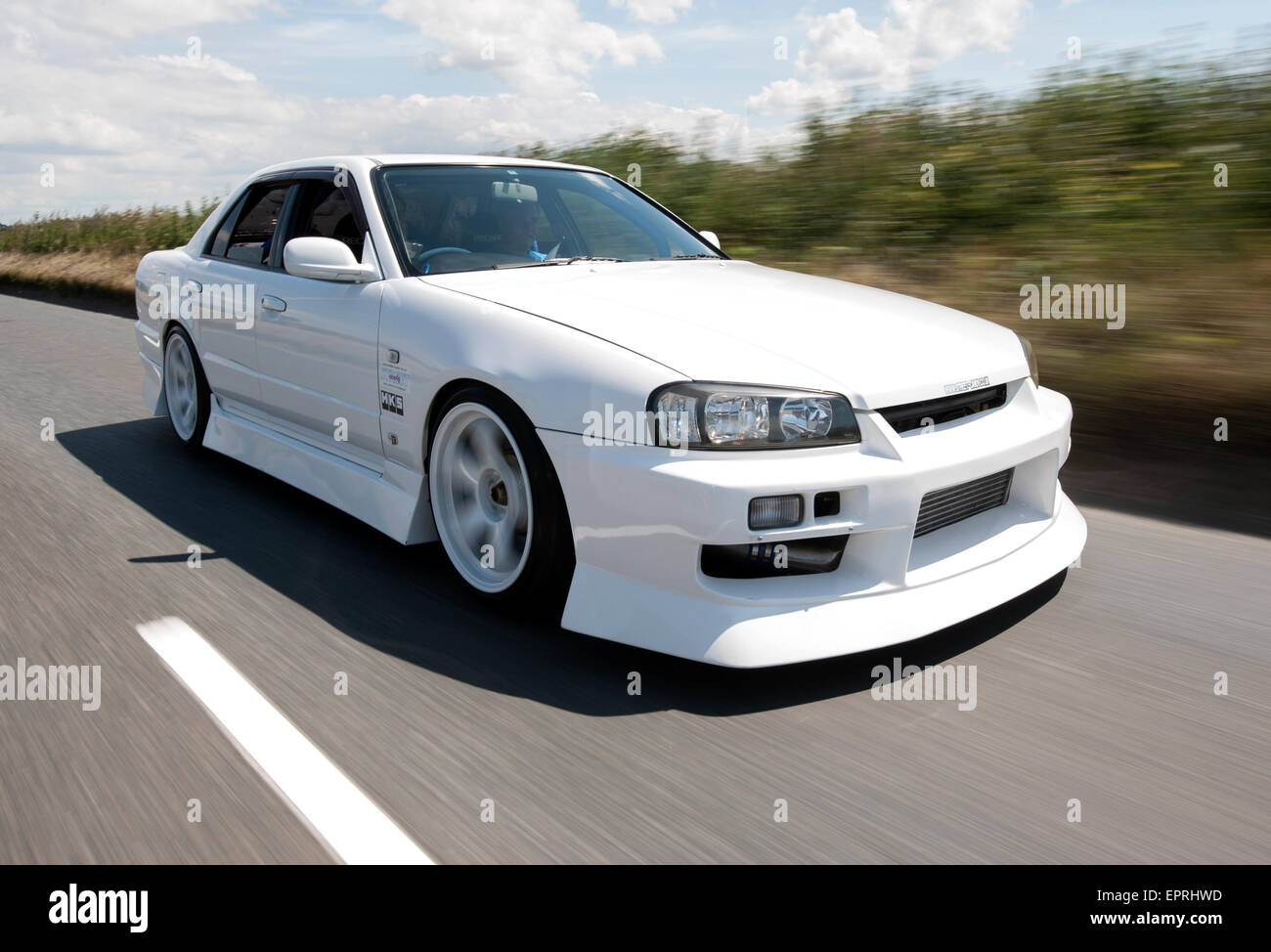 modified nissan r34 skyline performance car stock photo. Black Bedroom Furniture Sets. Home Design Ideas
