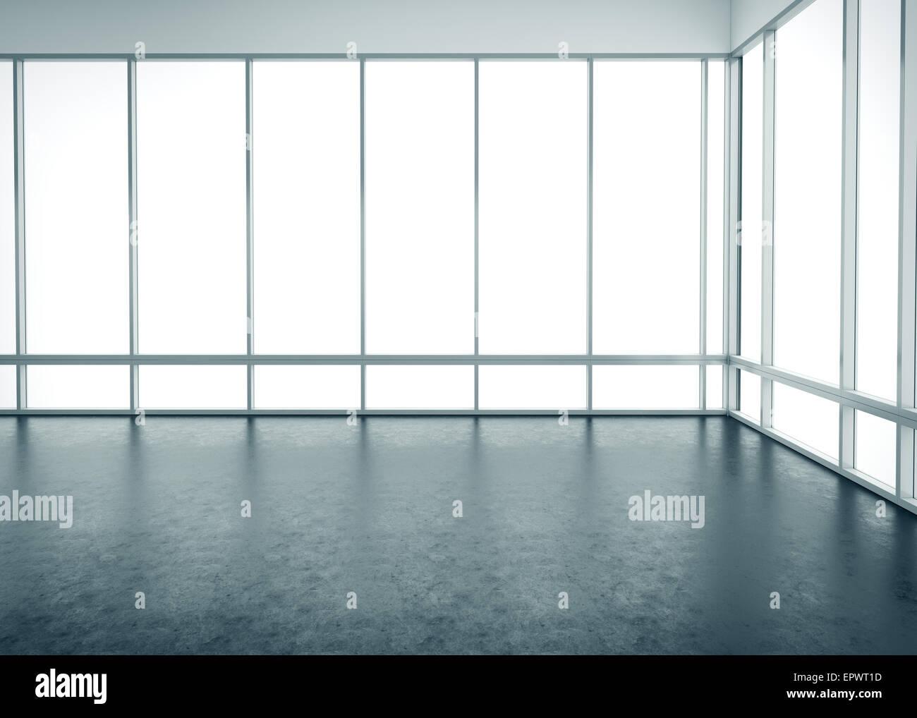 Interior office windows - Stock Photo White Empty Office Interior With Large Windows