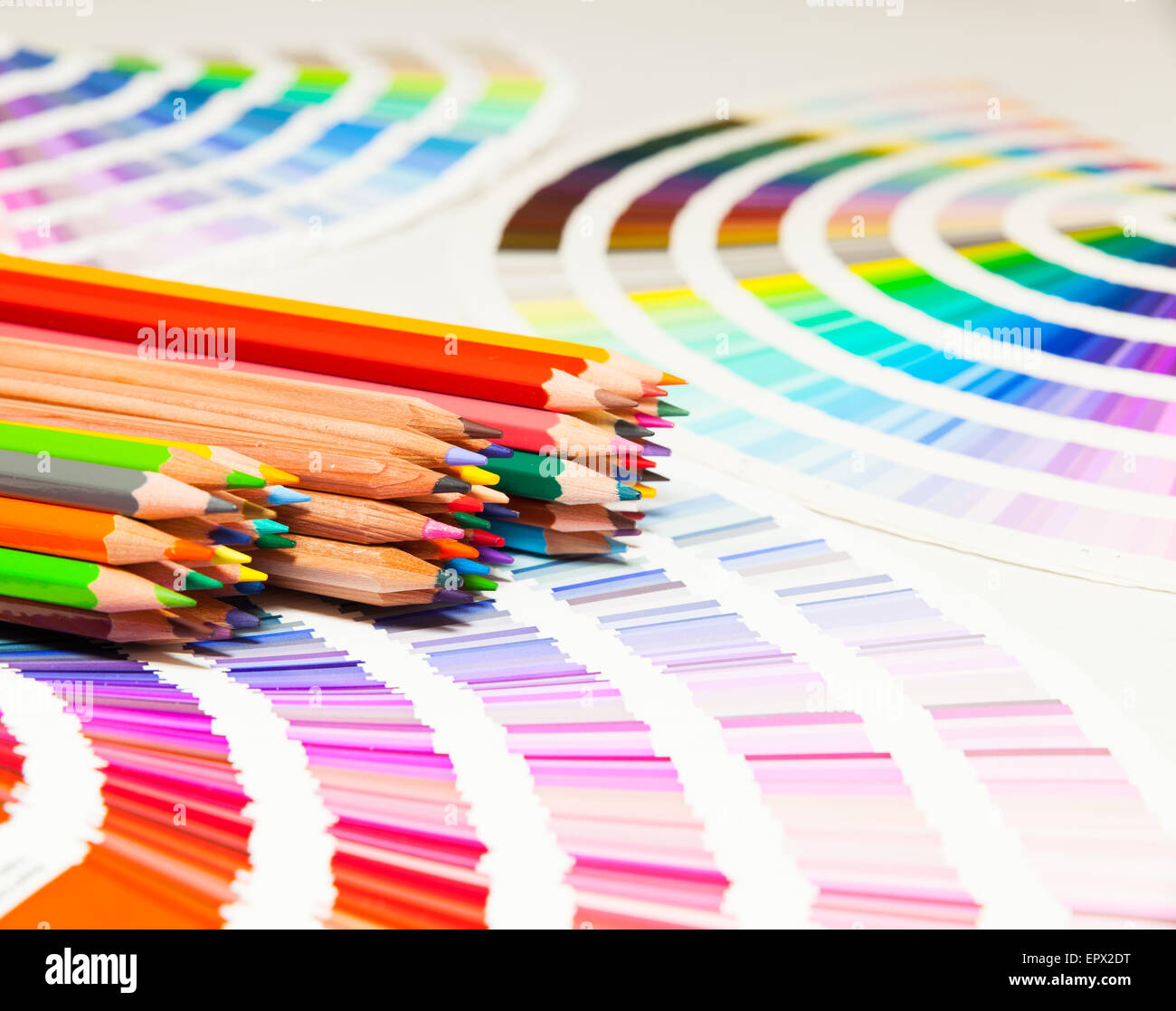 Colored pencils and color chart of all colors stock photo royalty colored pencils and color chart of all colors nvjuhfo Gallery