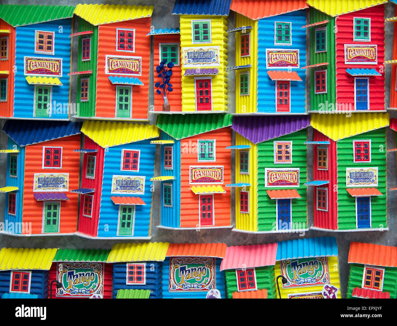 Colourful model houses in shop window La Boca Buenos Aires ...