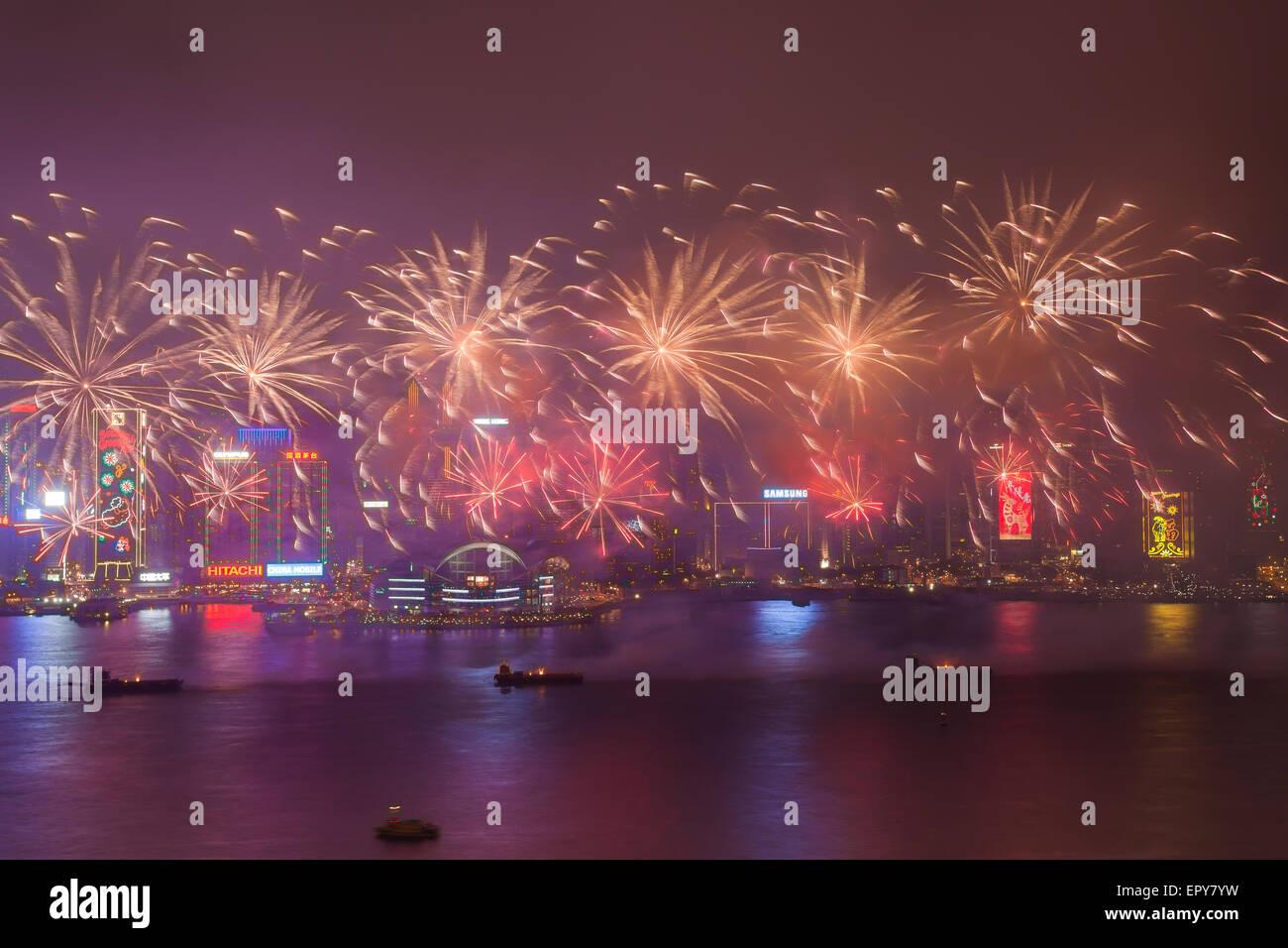 hong kong february 20 hong kong chinese new year fireworks at victoria harbour hong kong on 20 february 2015 it is the cel - Chinese New Year Fireworks