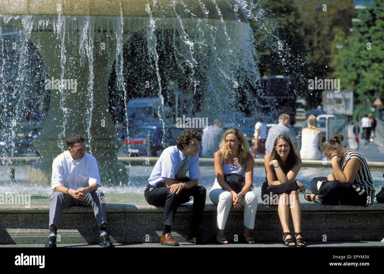 DEU, Germany, Hesse, Frankfurt, Fountain At The Opera Square. DEU,  Deutschland, Hessen, Frankfurt Am Main, Brunnen Am Opernplat
