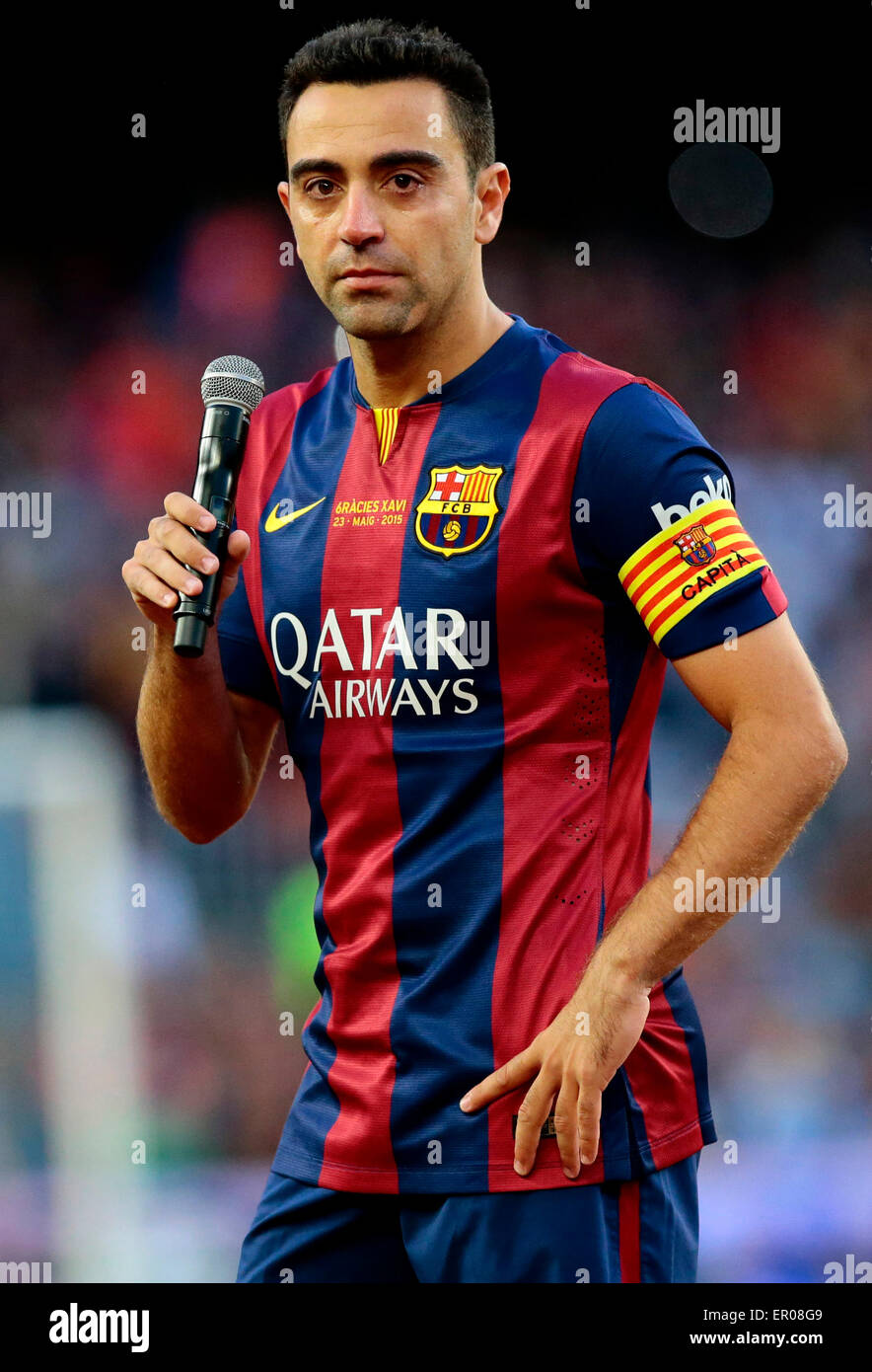 Barcelona Spain 23rd May 2015 Barcelona s captain Xavi