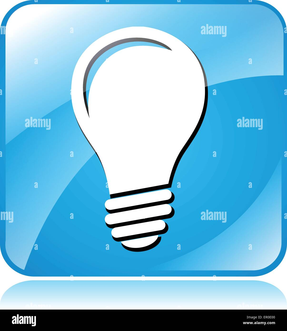 vector square blue icon lighting bulb. illustration of blue square design icon for light bulb vector lighting c