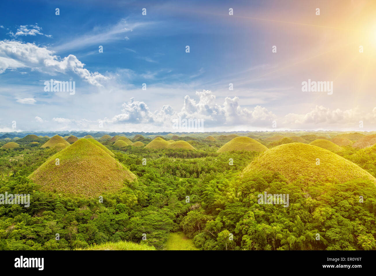 View of the Chocolate Hills in Bohol, Philippines Stock Photo ...