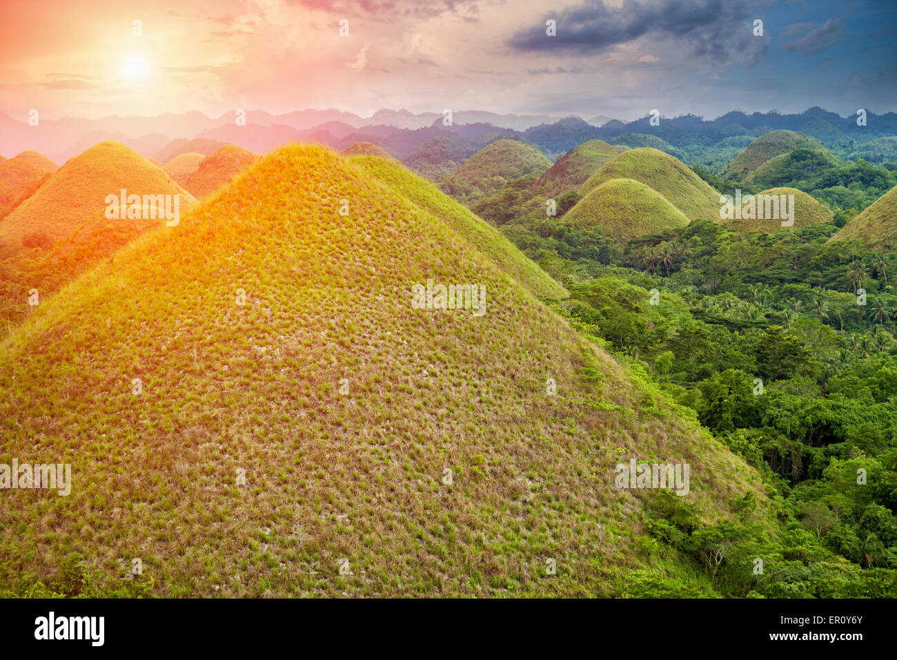 Beautiful scenery of Chocolate Hills in Bohol, Philippines Stock ...