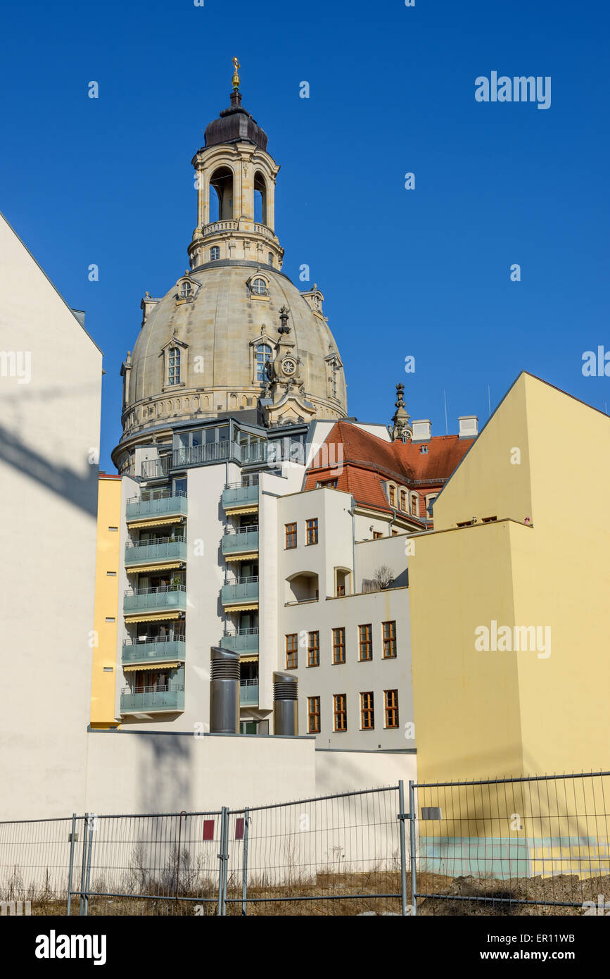 old and modern view from landhaus street toward frauenkirche dome above back facades of new reconstructed buildings of quarter - Landhaus Modern