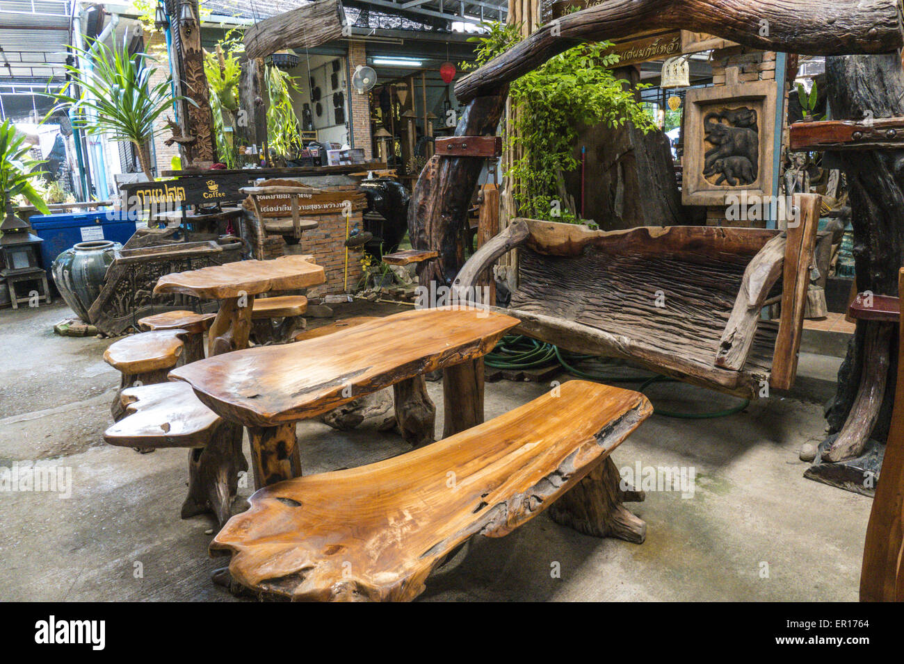 Rustic wooden furniture thailand stock photo royalty for Thai furniture