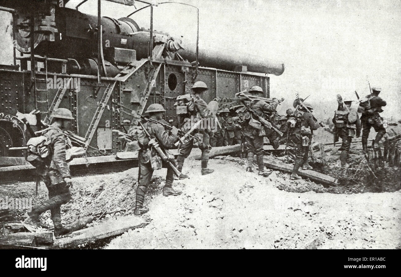 A British Wiring Party in World War I - They are passing one of their own monster guns just outside Arras : british wiring - yogabreezes.com