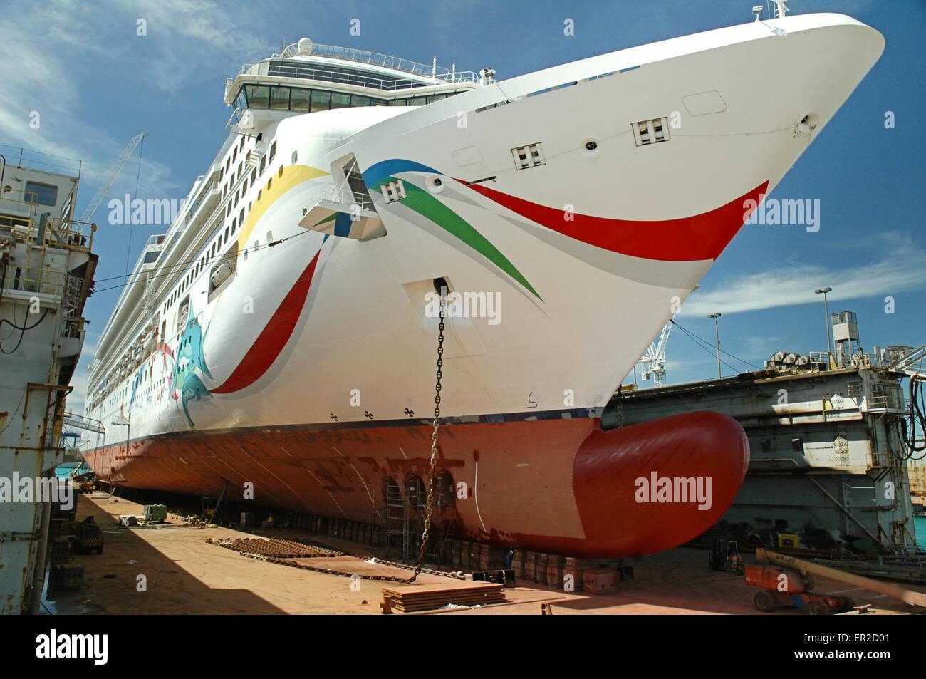 Large Cruise Ship On A Dry Dock Stock Photo Royalty Free Image - Docked cruise ship