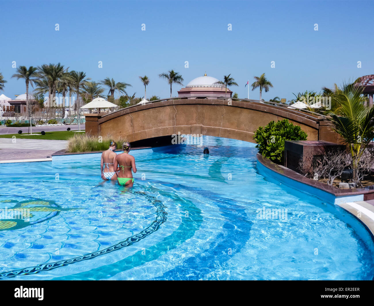 Outside Swimming Pool At The Emirates Palace Hotel Abu Dhabi Stock Photo Royalty Free Image