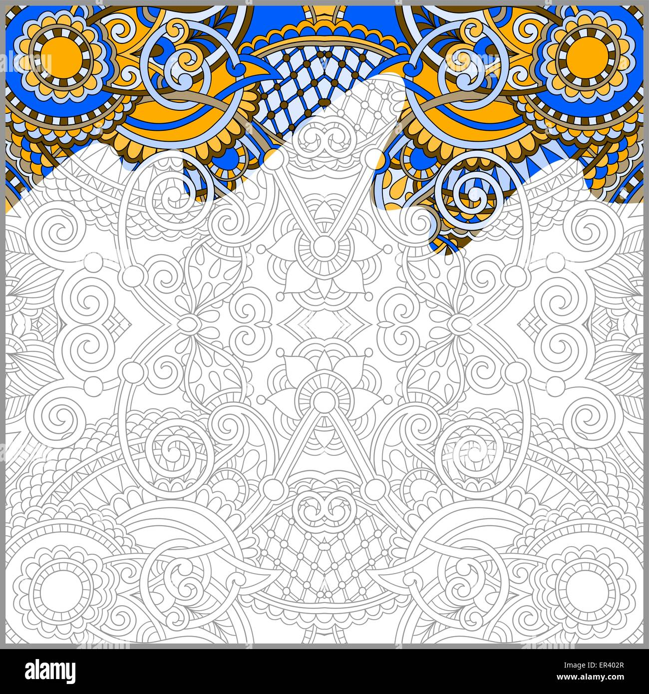 Unique Coloring Book Square Page For Adults Stock Vector Art Amp Illustration Vector Image
