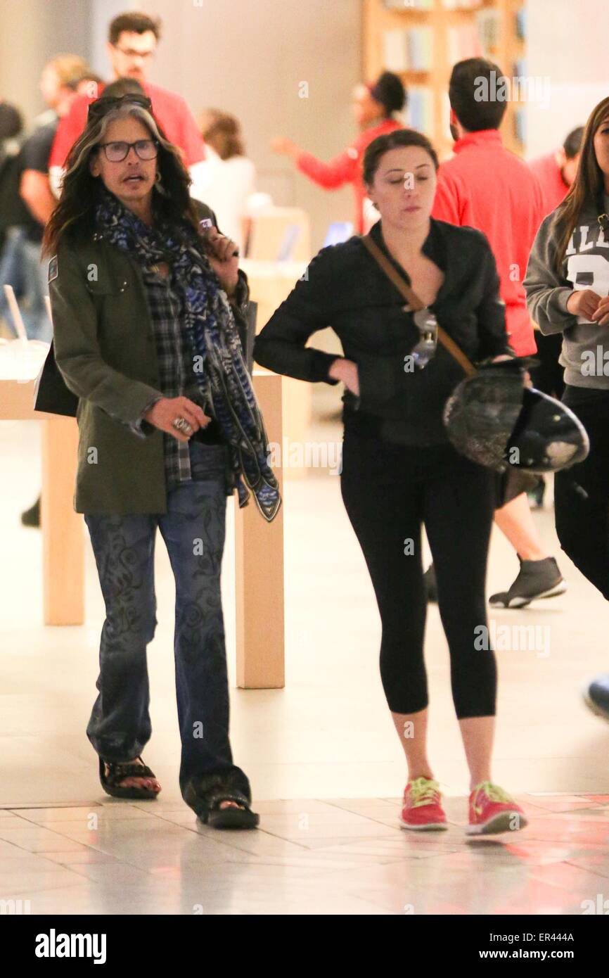 Steven Tyler and his girlfriend Aimee Preston shopping at ...