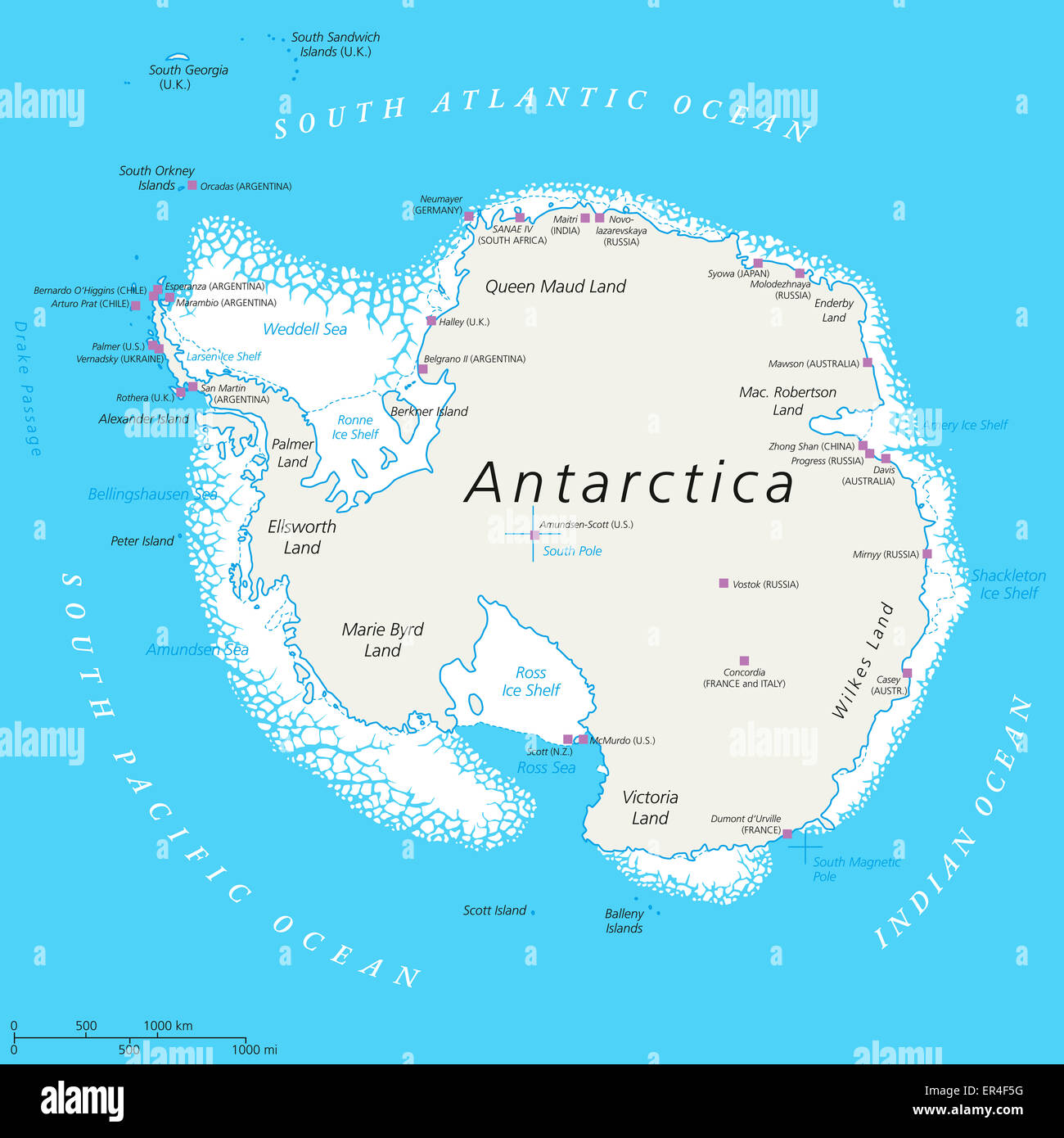 Antarctica political map with south pole scientific research antarctica political map with south pole scientific research stations and ice shelfs english labeling and scaling sciox Images