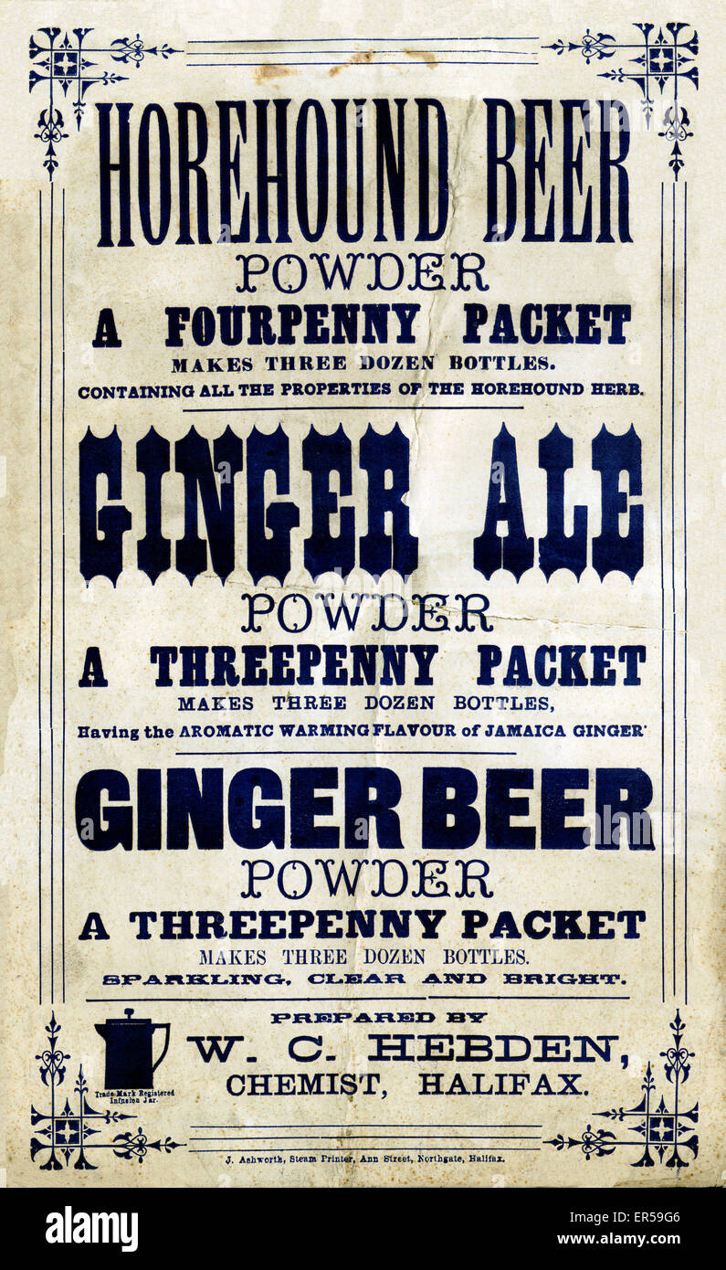 Horehound Beer, early Victorian poster for the herbal beer, Ginger ...