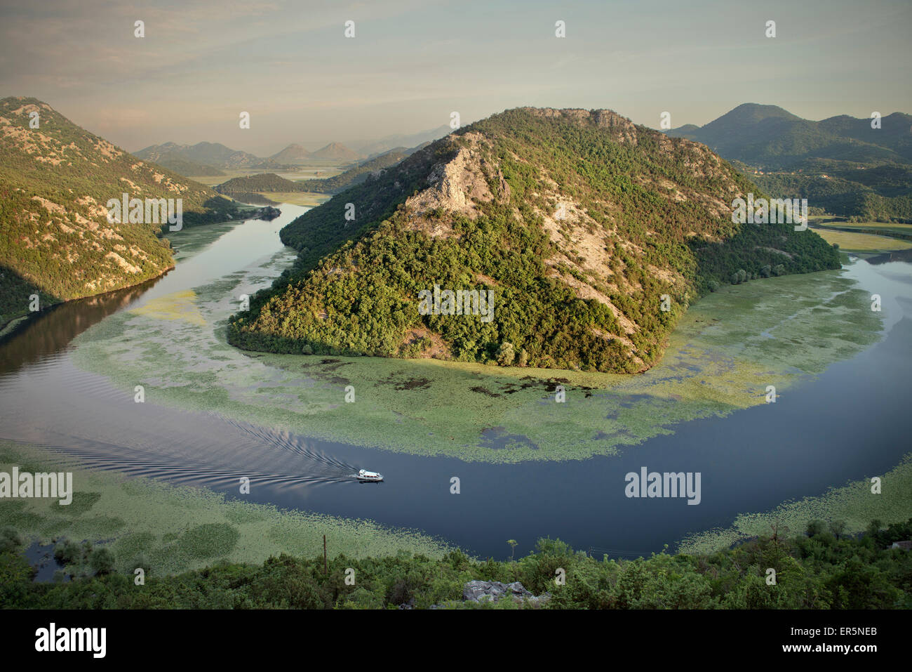 Art color rijeka - View Of The River Bend Of The Rijeka Crnojevica River With Boat Lake Skadar National