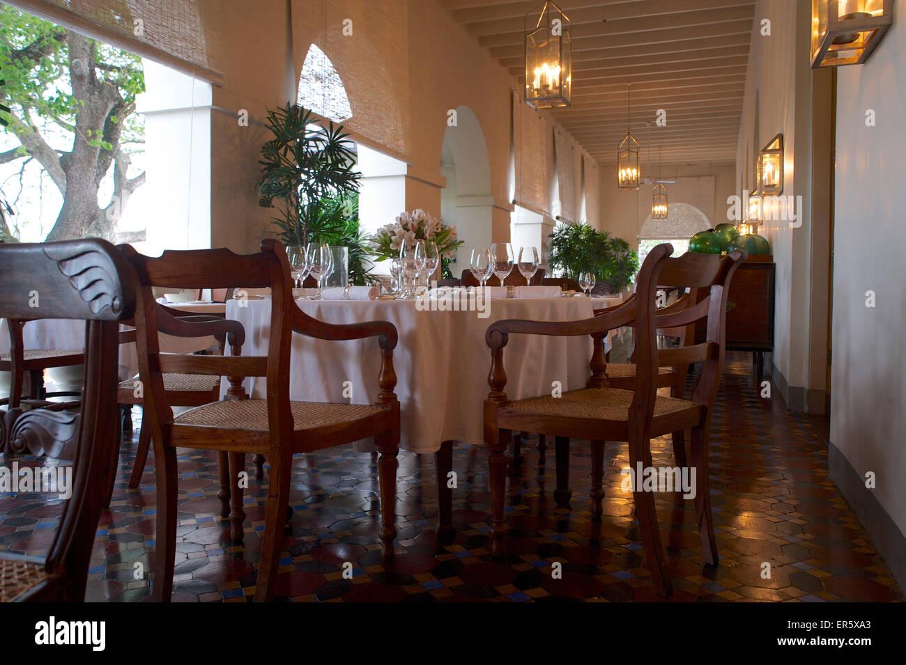 Dining Table On The Veranda Of The Luxury 5 Star Hotel Amangalle, Galle,  Southwest Coast, Sri Lanka