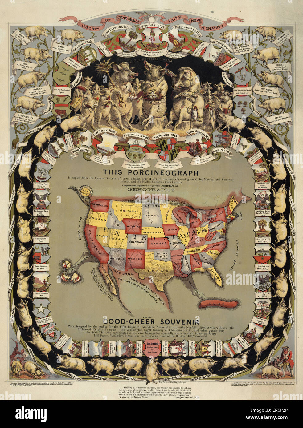 Map Of The United States In Shape Of A Pig Surrounded By Pigs Representing The Different States With Notations Of State Foods C1876