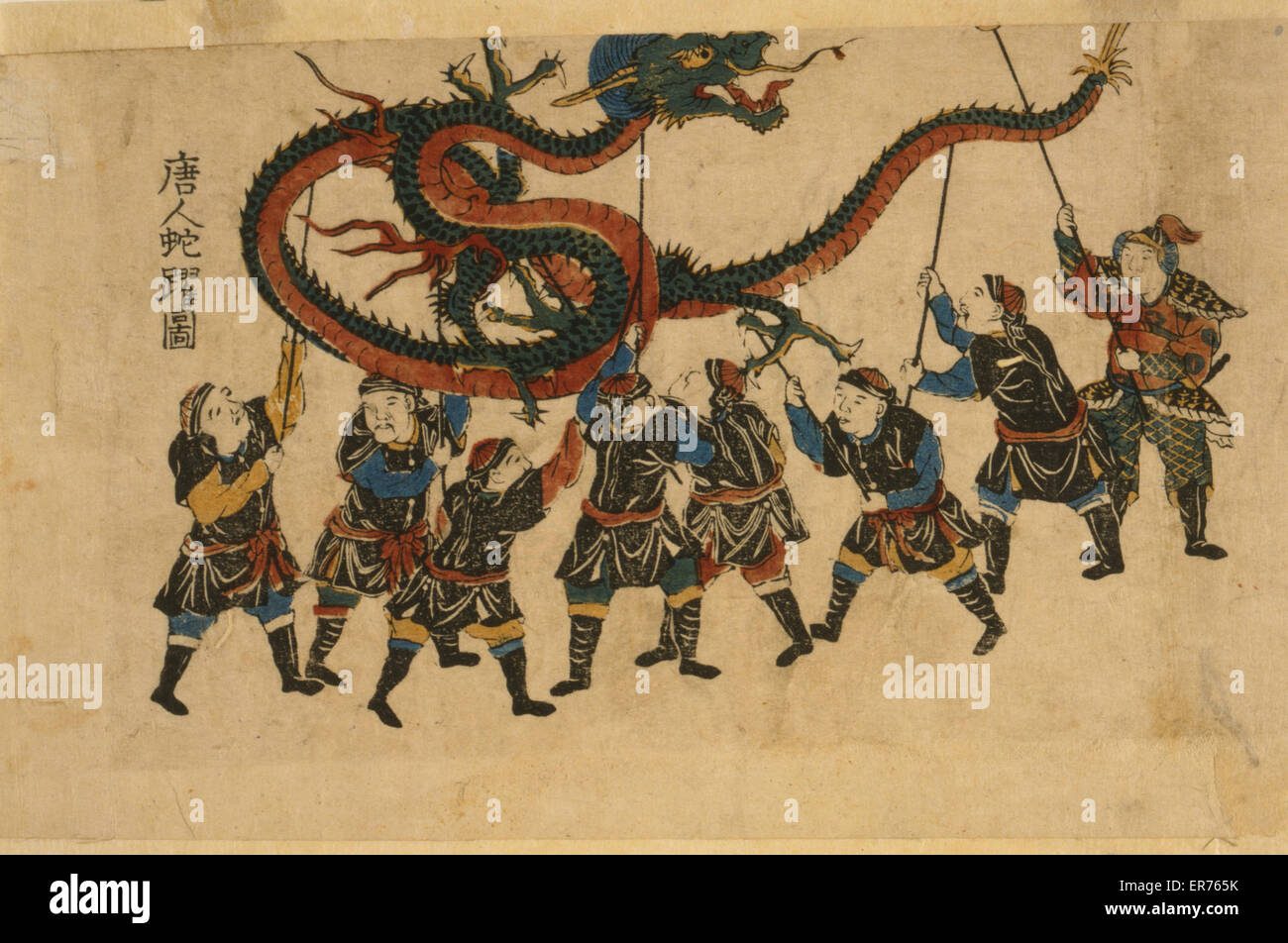chinese dragon dance japanese print shows eight men holding up a