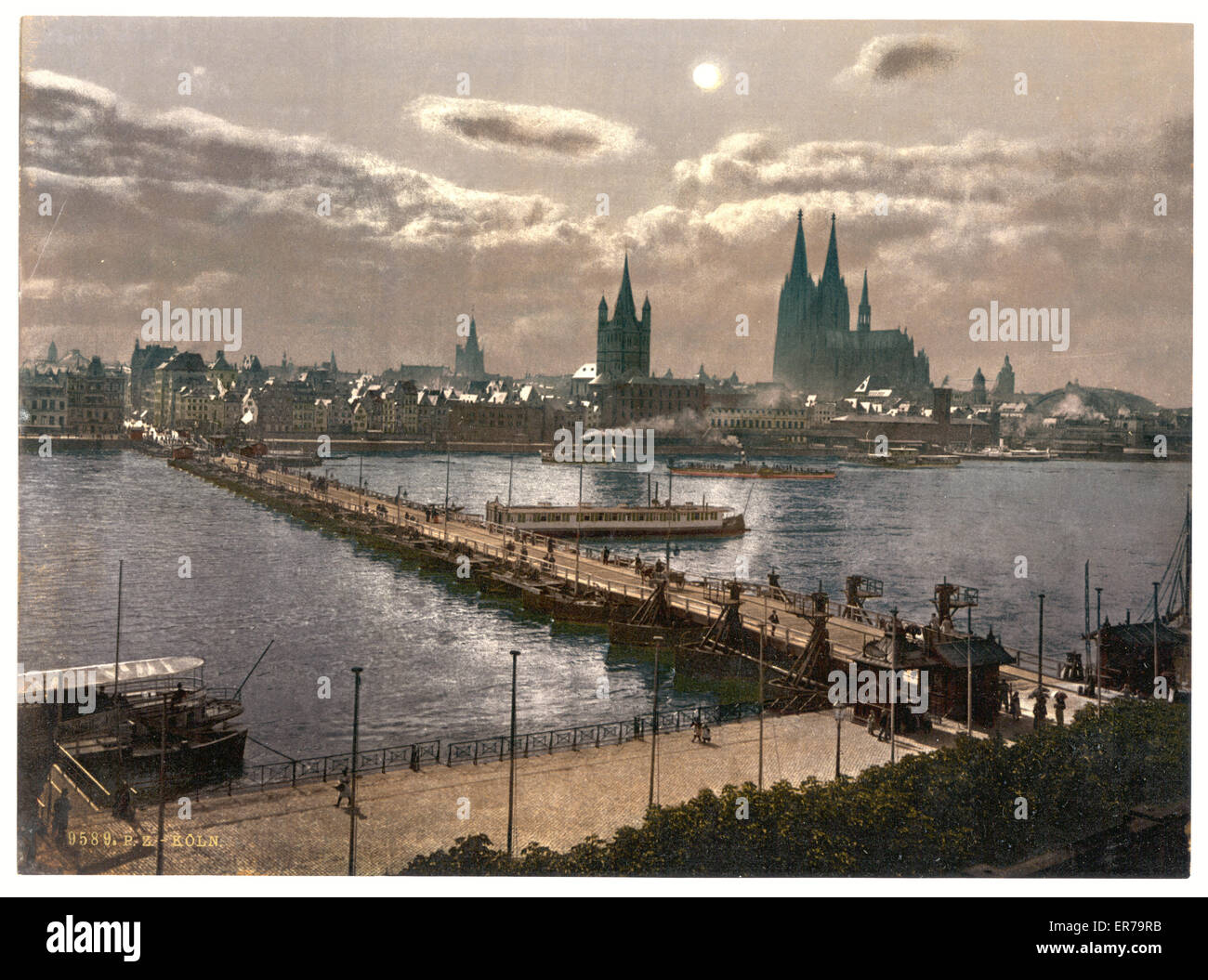 general view by moonlight cologne the rhine germany date between stock photo royalty free. Black Bedroom Furniture Sets. Home Design Ideas