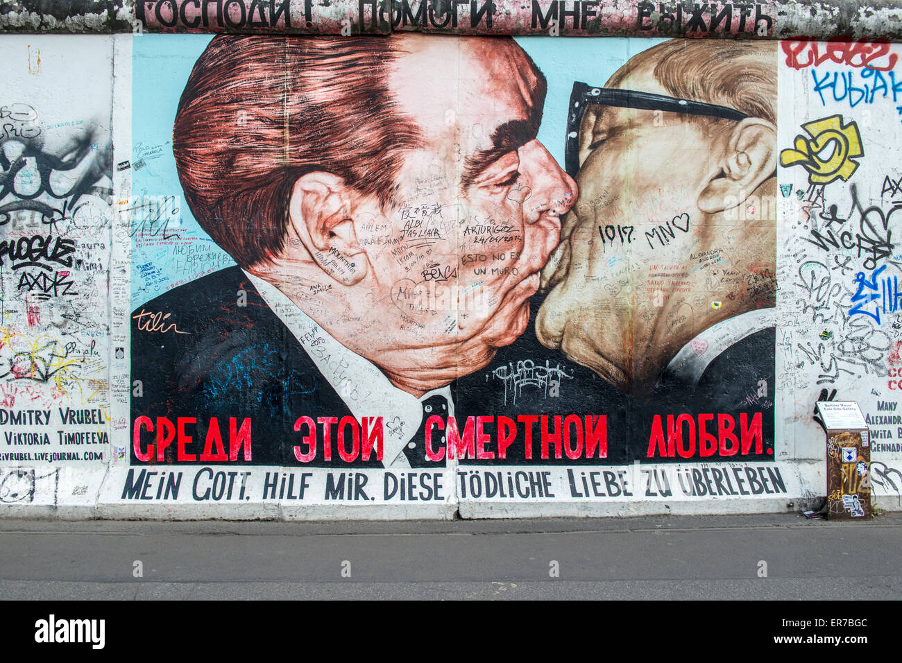 Artwork On The Berlin Wall At The East Side Gallery Depicting A Kiss  Between Leonid Brezhnev And Erich Honecker. Part 57