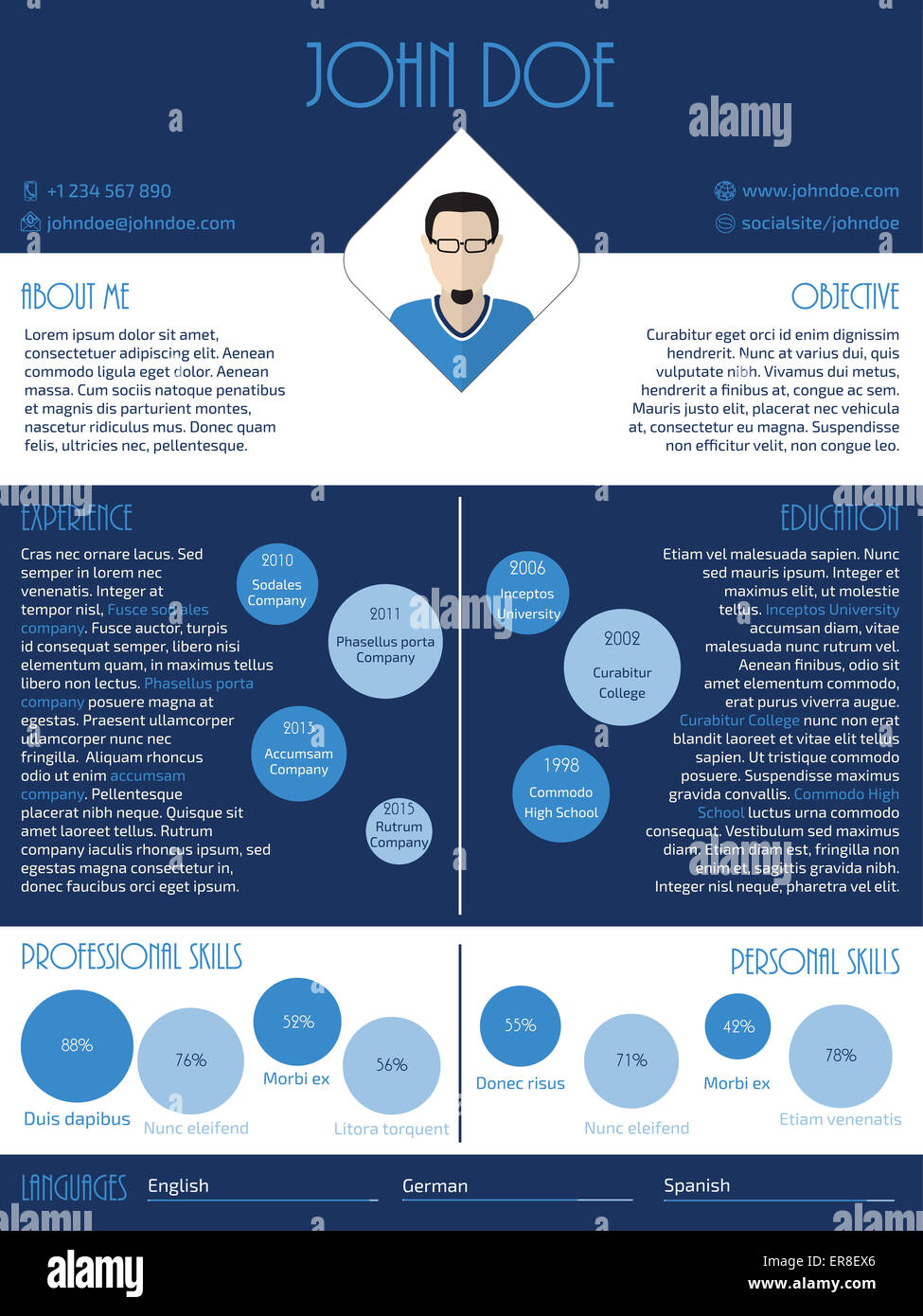 modern curriculum vitae resume cv design in blue and white