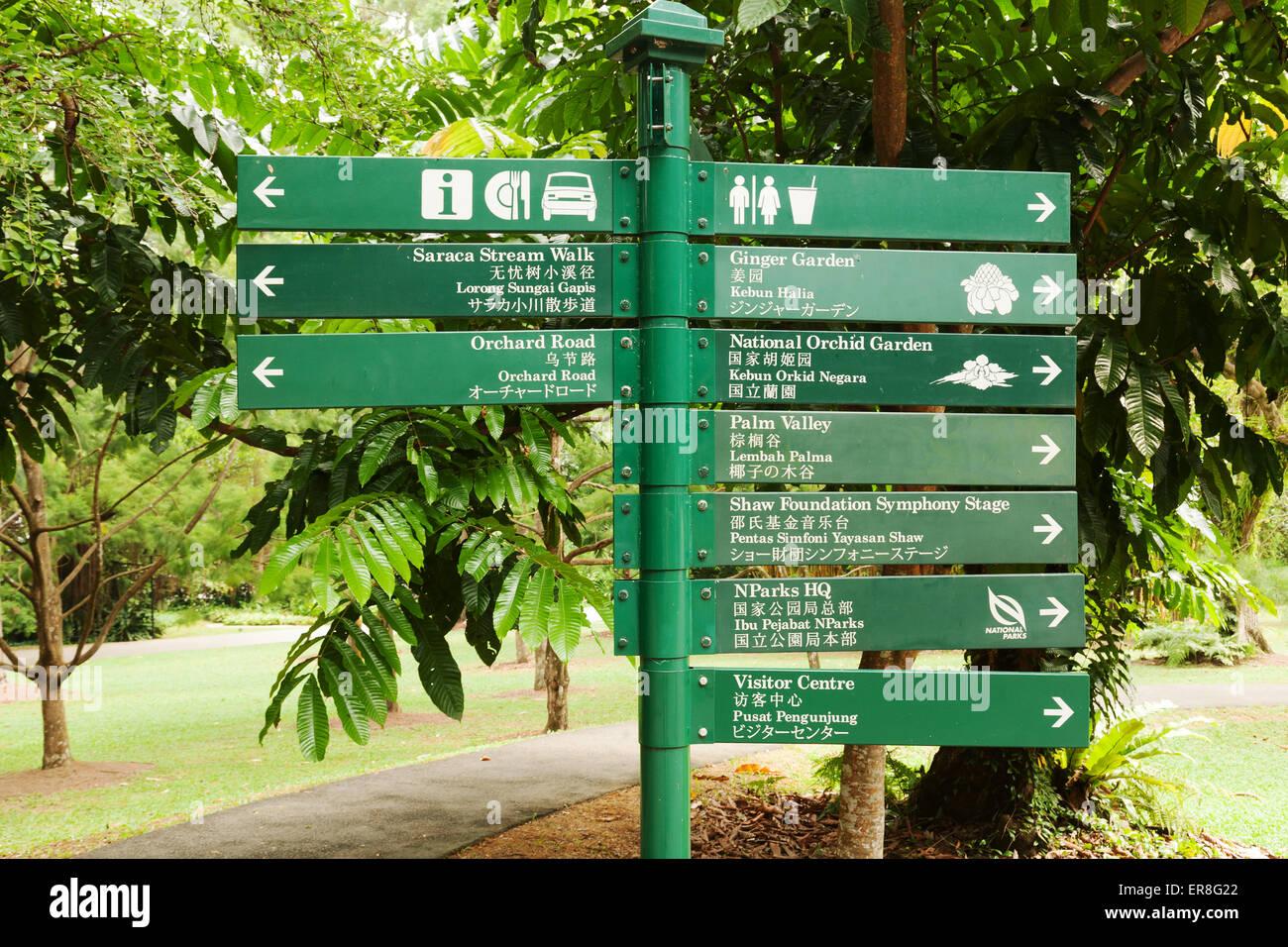 Direction Sign, Singapore Botanic Gardens, Singapore, South East Asia