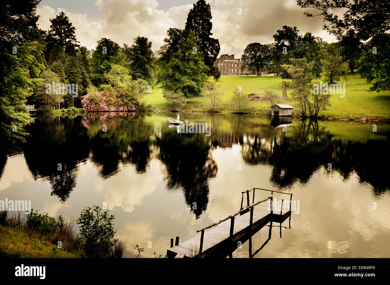 Fishing from a boat on the lake at the stobo japanese for Stobo water gardens