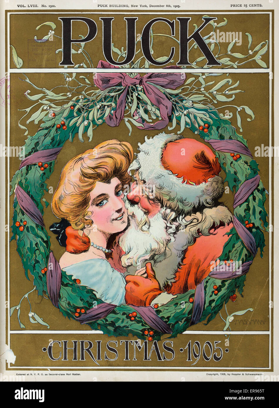 Puck christmas 1905 illustration shows santa claus kissing a illustration shows santa claus kissing a young woman on the cheek framed by a holly wreath date 1905 december 6 jeuxipadfo Choice Image
