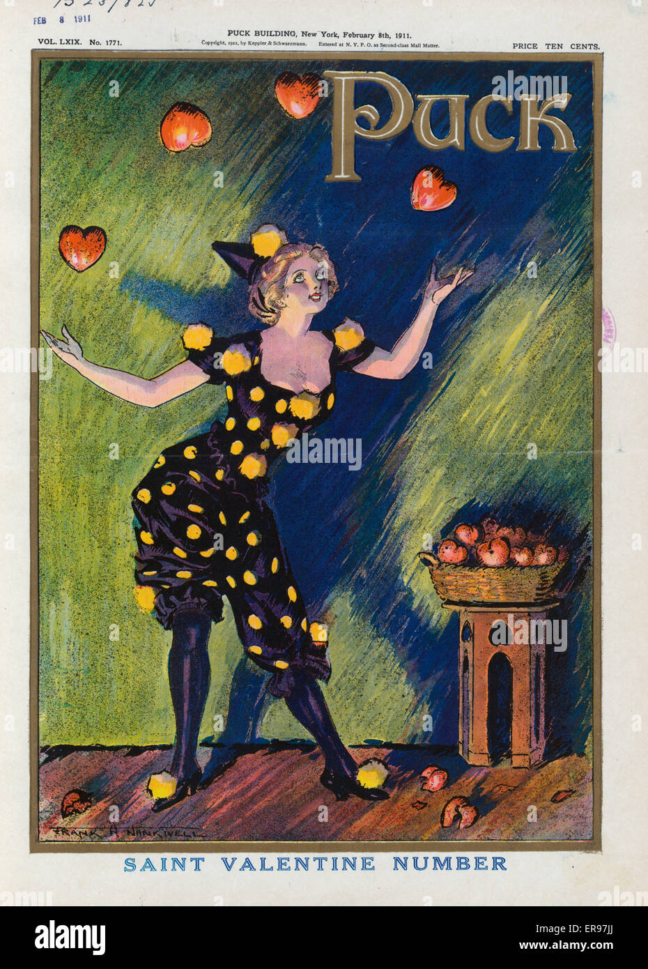 Saint Valentine Number. Illustration Shows A Young Woman Juggling Hearts In  Celebration Of Valentines Day. Date 1911 February 8