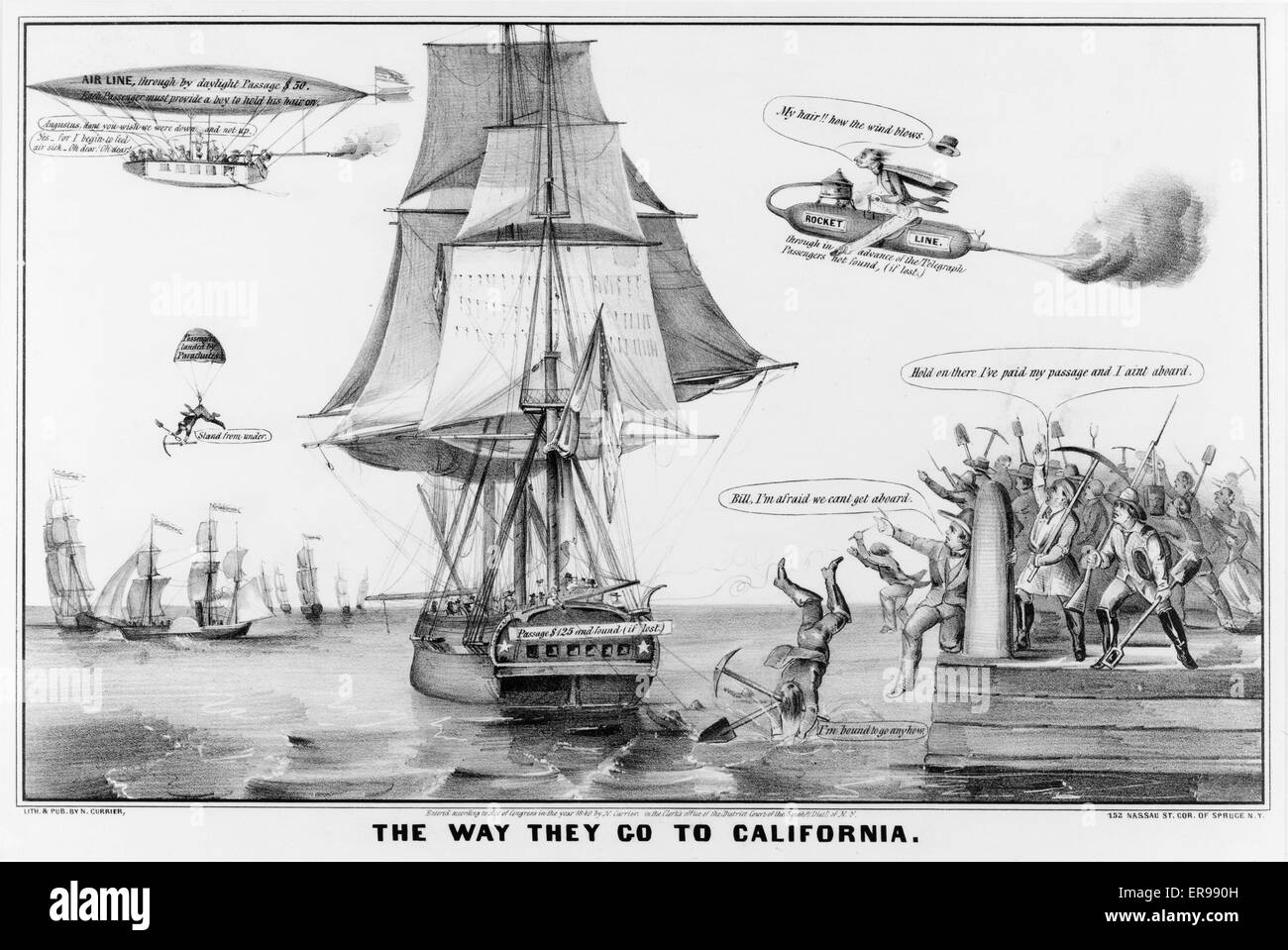 the way they go to california gold rush cartoon showing